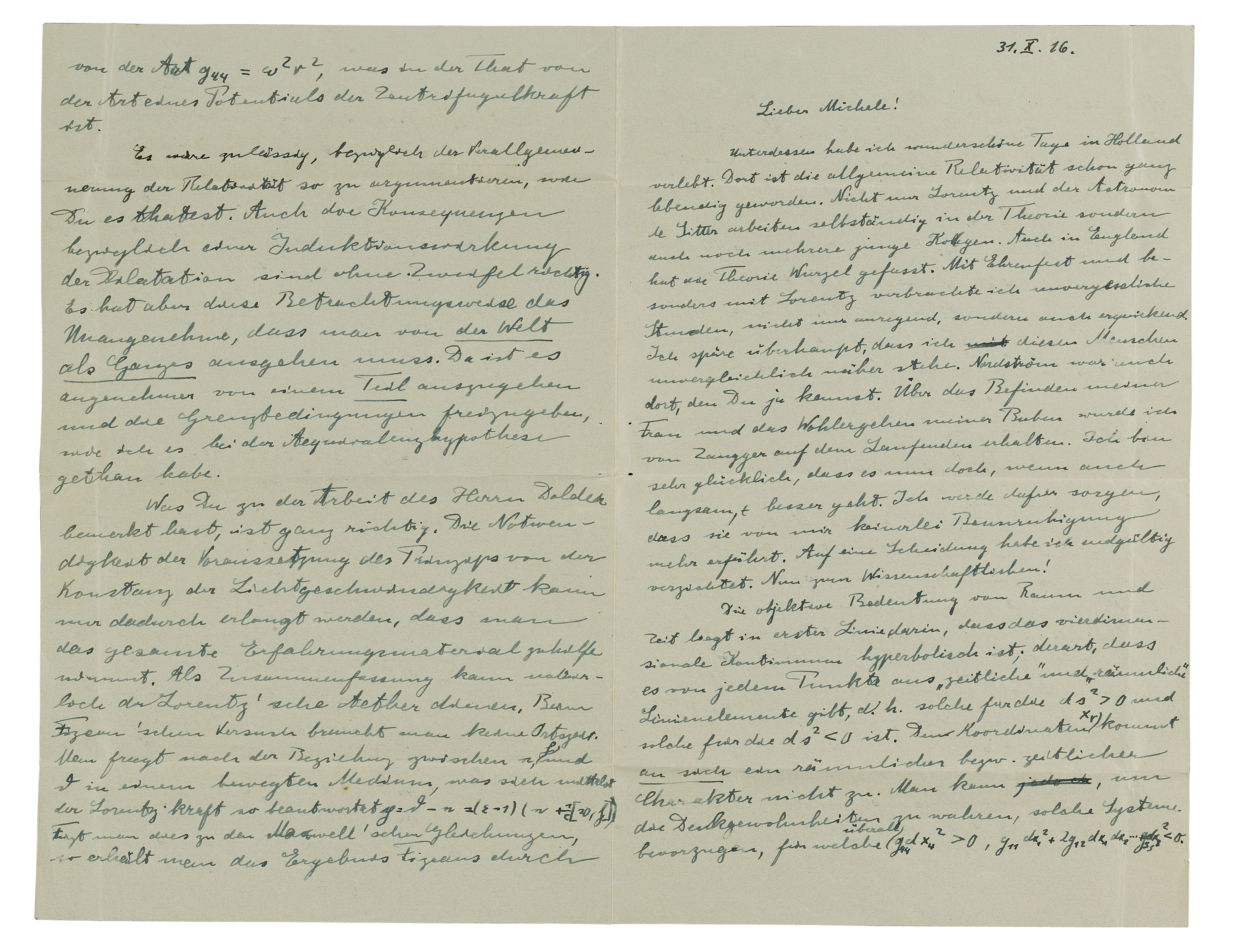 EINSTEIN, Albert (1879-1955). Autograph letter signed ('Albert') to Michele Besso, [Berlin], 31 October 1916.