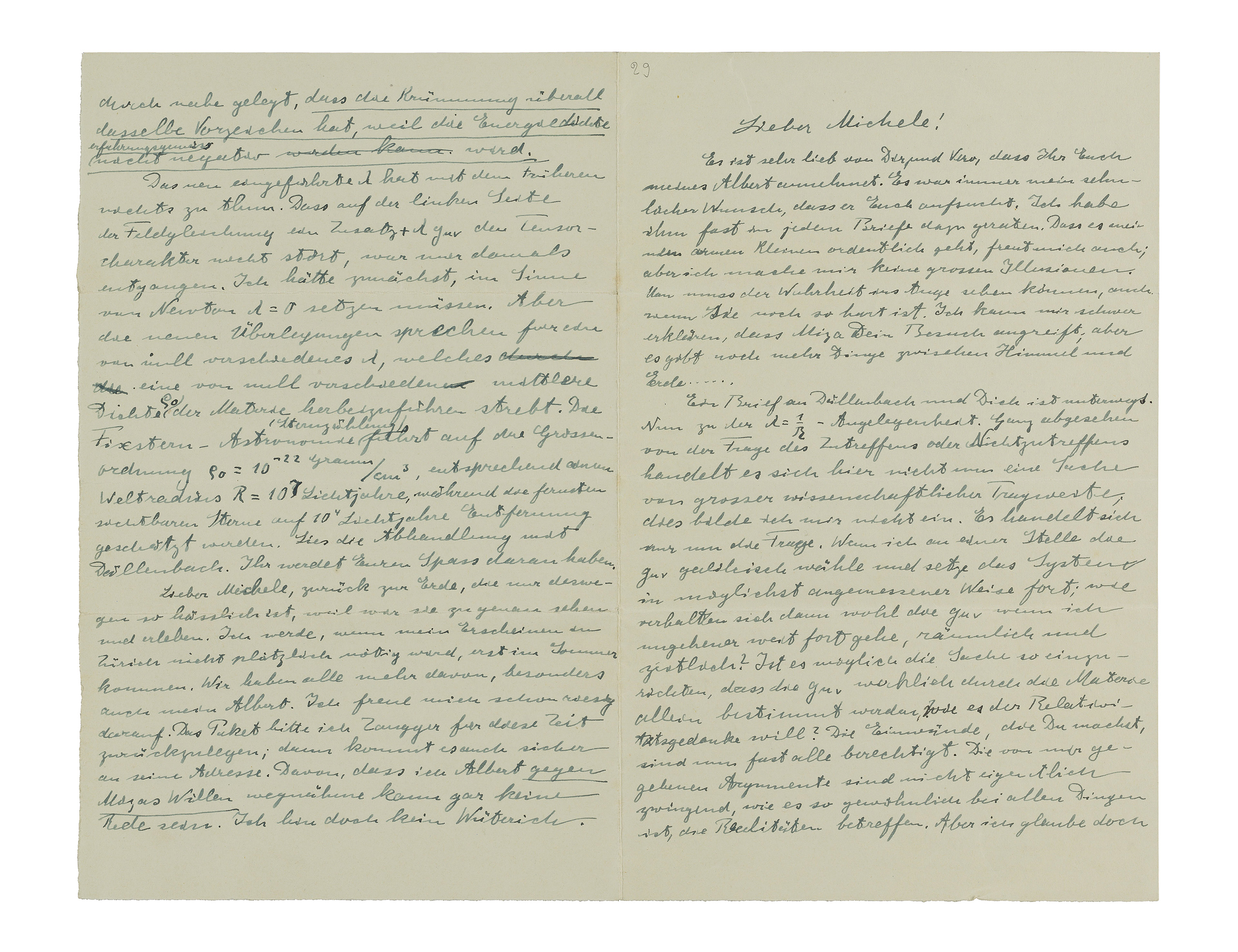 EINSTEIN, Albert (1879-1955). Autograph letter signed ('Albert') to Michele Besso, n.p., n.d. [Berlin, December 1916].