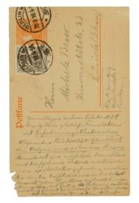 EINSTEIN, Albert (1879-1955). Autograph correspondence card signed ('Albert') to Michele Besso, [postmarked Berlin, 28 August 1918].