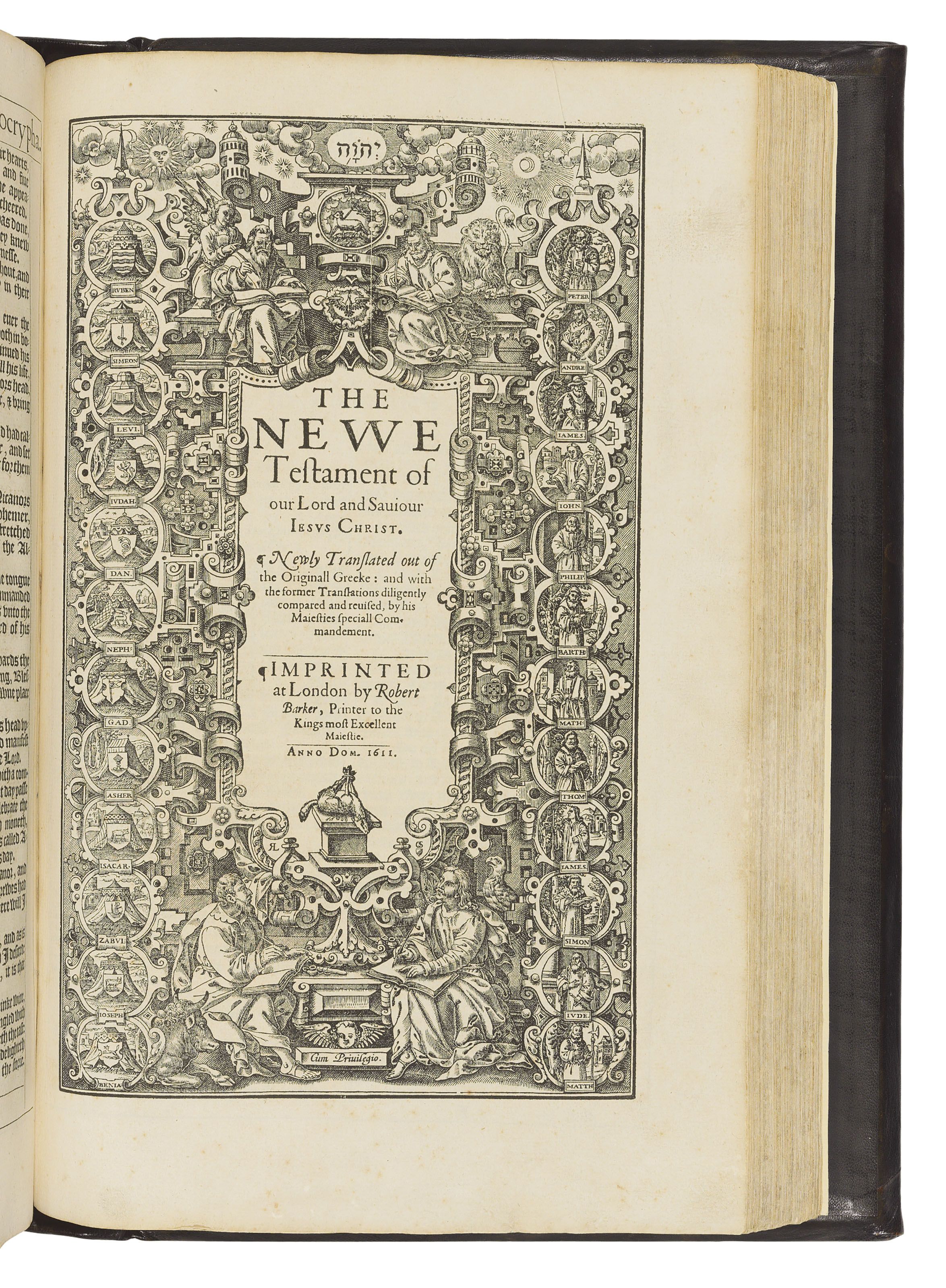 BIBLE, English. The Holy Bible, conteyning the Old Testament, and the New: Newly Translated out of the Originall Tongues: & with the former Translations diligently compared and revised by His Maiesties Speciall Commandment. Appointed to be read in Churches. London: Robert Barker, 1611.