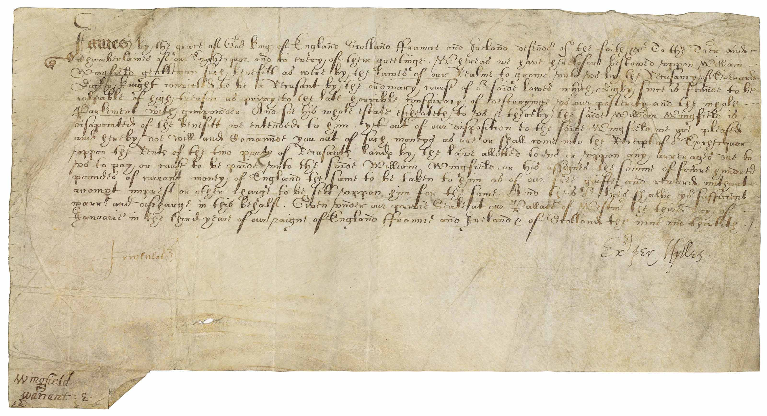 JAMES VI & I (1566-1625), King of Scotland, England and Ireland. Letter under the privy seal to the Treasurer and Chamberlains of the Exchequer, Westminster, 3 January 1605/06.