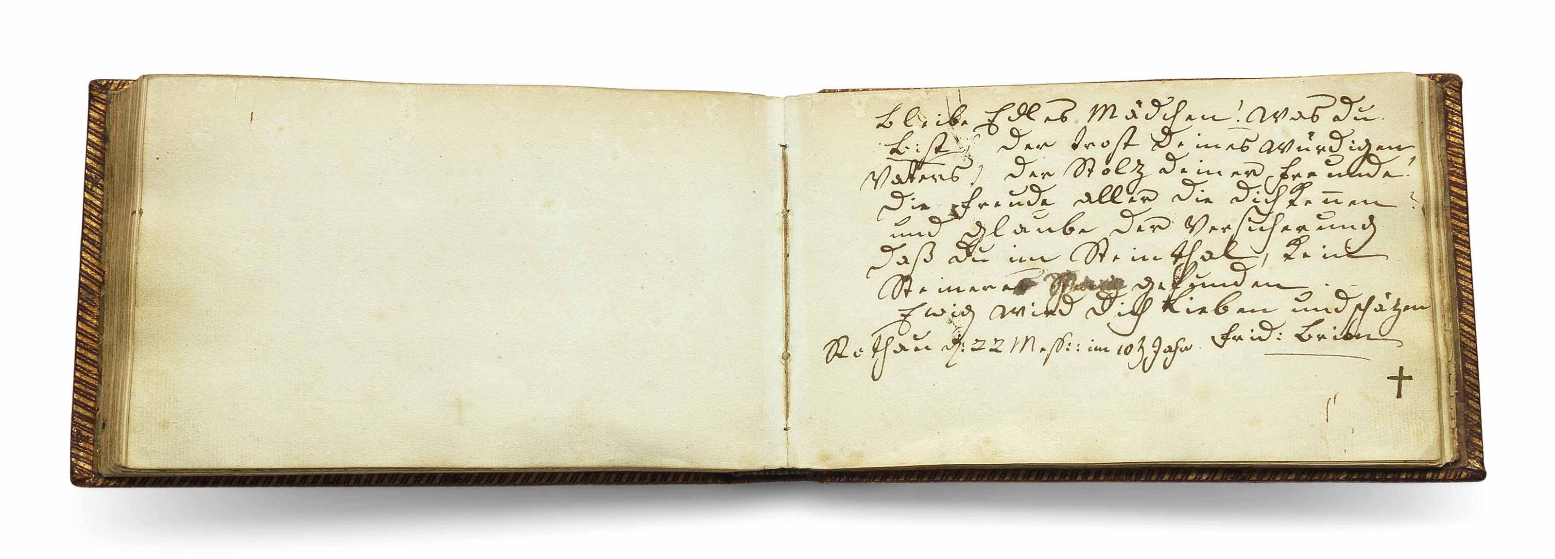 [GOETHE, Johann Wolfgang von (1749-1832)]. 'Denckmahl meiner Freunde und Freundinen', the album amicorum (Stammbuch) of Margaretha Beltzer, Strasbourg, Paris and other places, 1802-1832, including an inscription by Goethe's first great love, Friederike Brion.