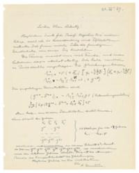 EINSTEIN, Albert (1879-1955). Autograph letter signed ('A. Einstein') to Hermann Müntz, n.p. [postmarked Potsdam], 20 November 1929.