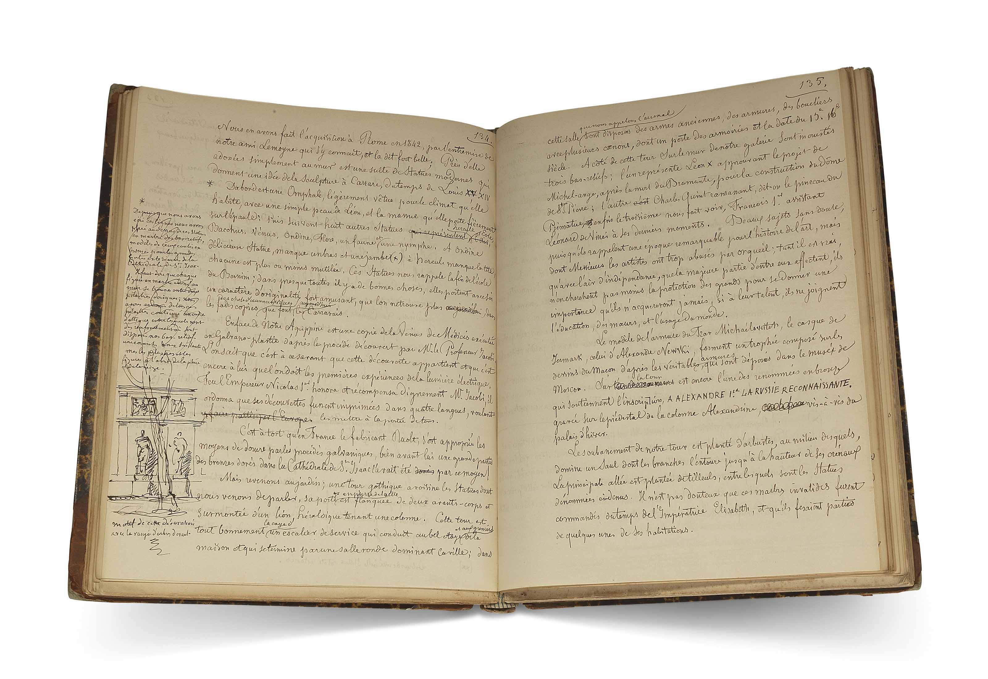 MONTFERRAND, Auguste de (1786-1858). Autograph manuscript, 'Description de l'habitation d'un Maçon, Tome 1', with extensive revisions, Paris, 1853.