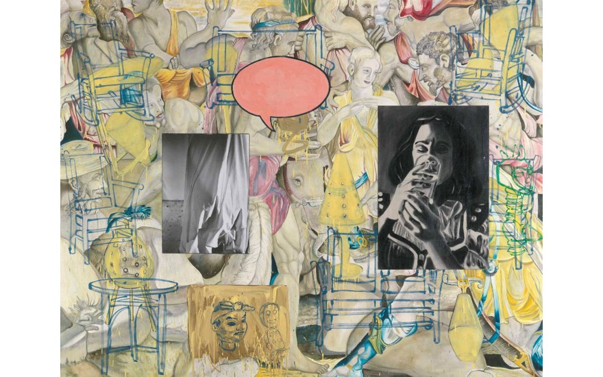 David Salle (b. 1952), Mingus in Mexico, 1990. 95⅛ x 122⅜ in (241.5 x 311 cm). Estimate £300,000-500,000. This lot is offered in Post-War and Contemporary Art Evening Auction on 6 October 2017  at
