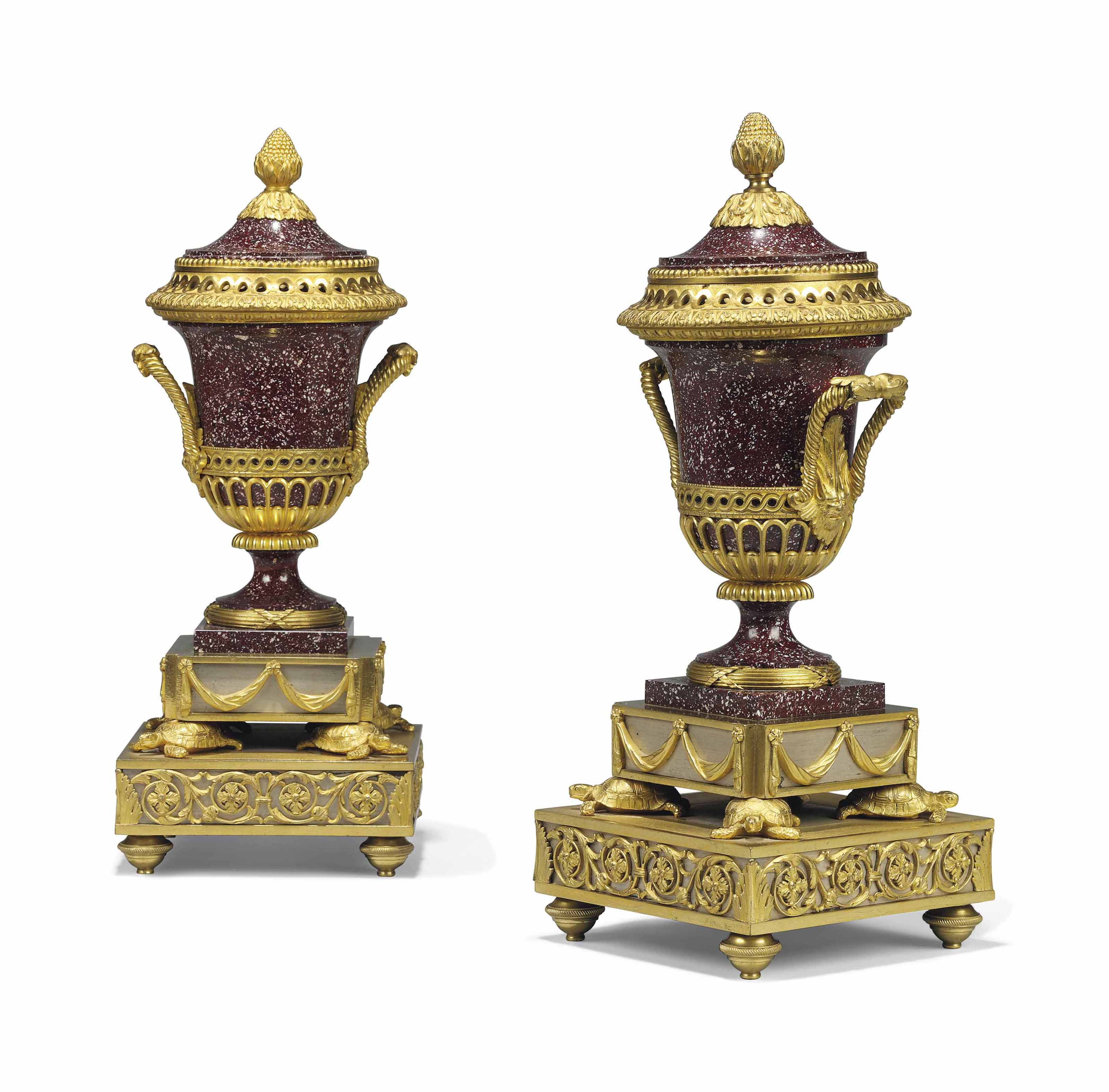 A PAIR OF FRENCH ORMOLU-MOUNTED PORPHYRY BRULE PARFUMS