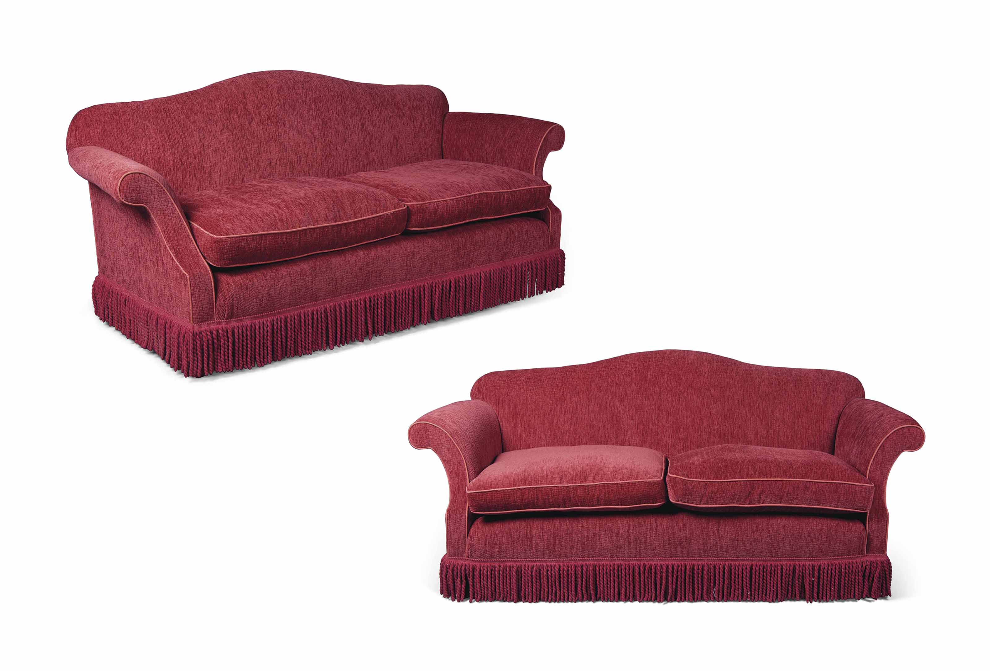 A PAIR OF ENGLISH RED VELVET TWO-SEAT SOFAS