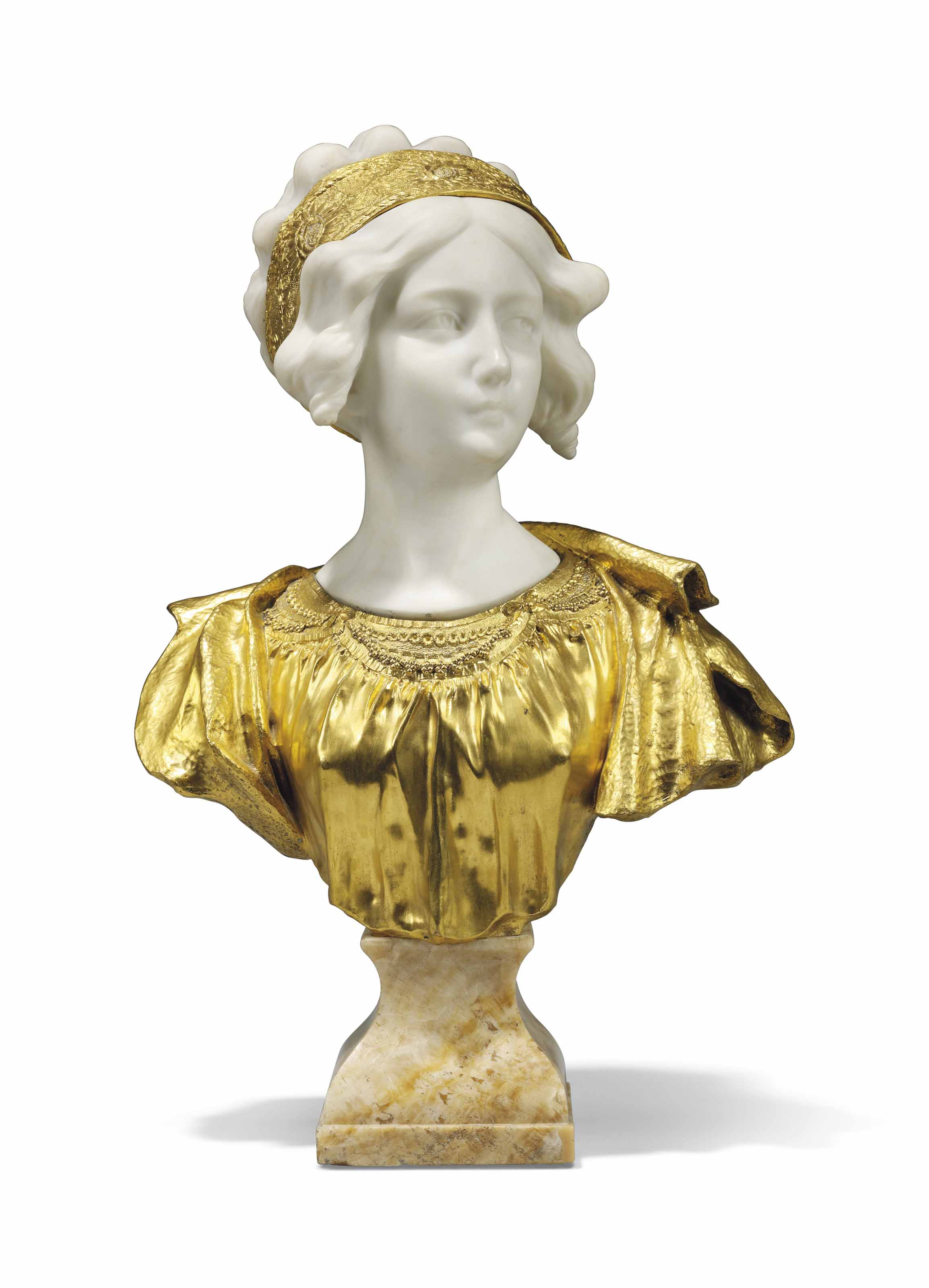 A FRENCH GILT-BRONZE AND WHITE MARBLE BUST OF A MAIDEN