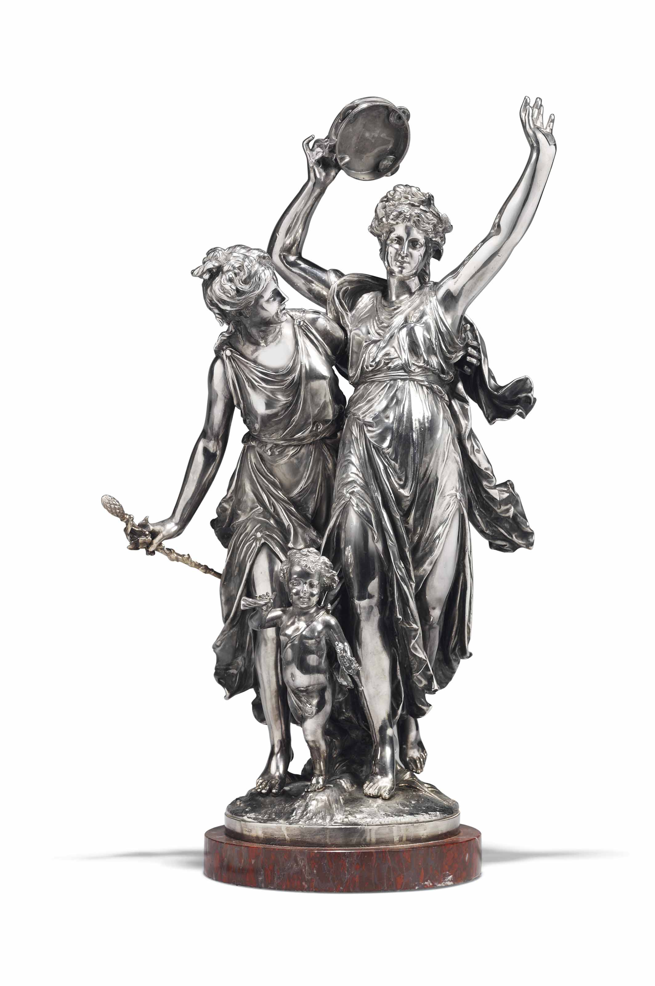 A FRENCH SILVERED-BRONZE GROUP OF TWO MAIDENS AND A PUTTO