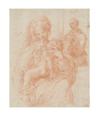 The Virgin Mary with the Christ Child with a monk behind