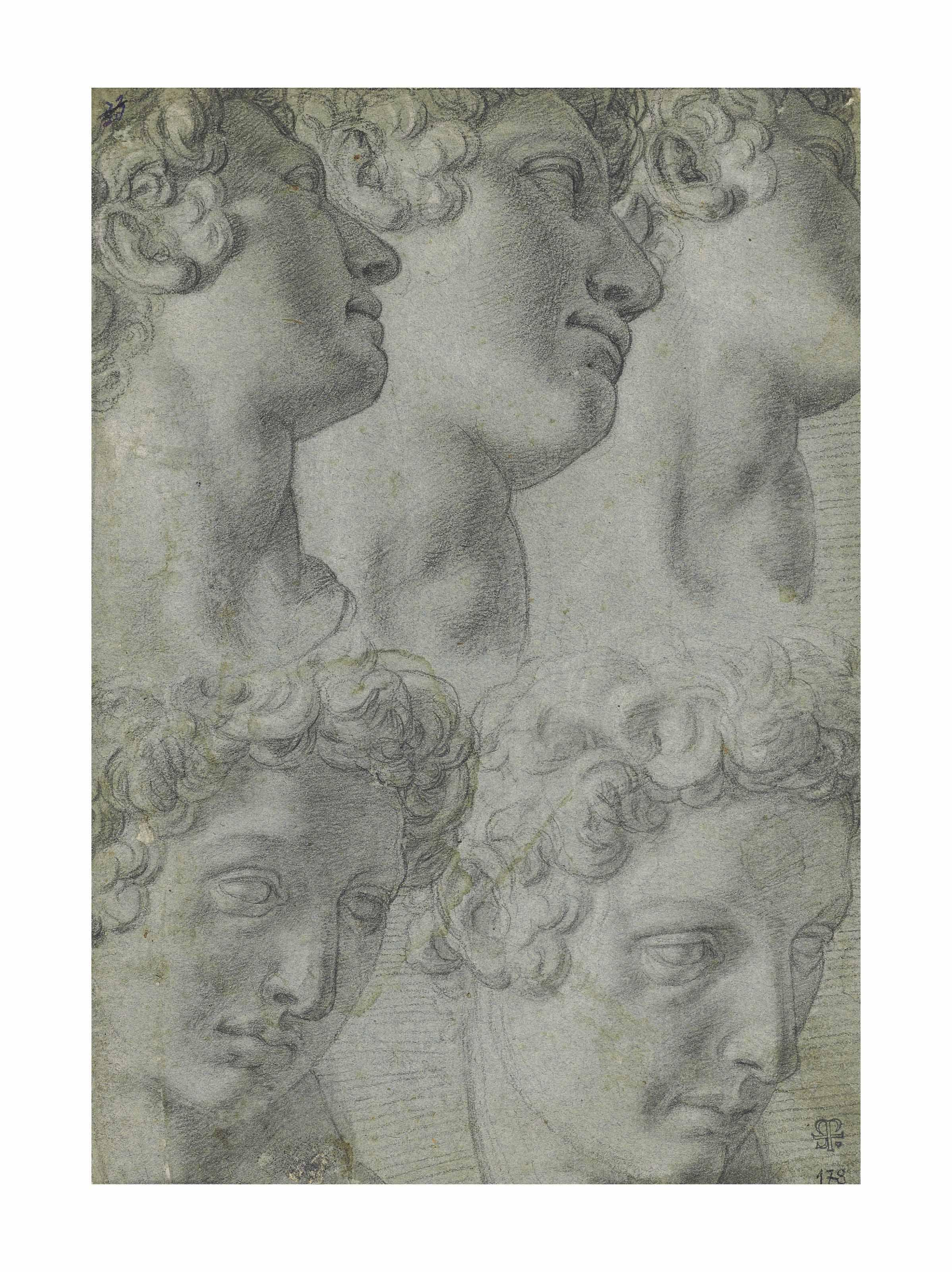 Five studies of the head of Giuliano de' Medici, after Michelangelo