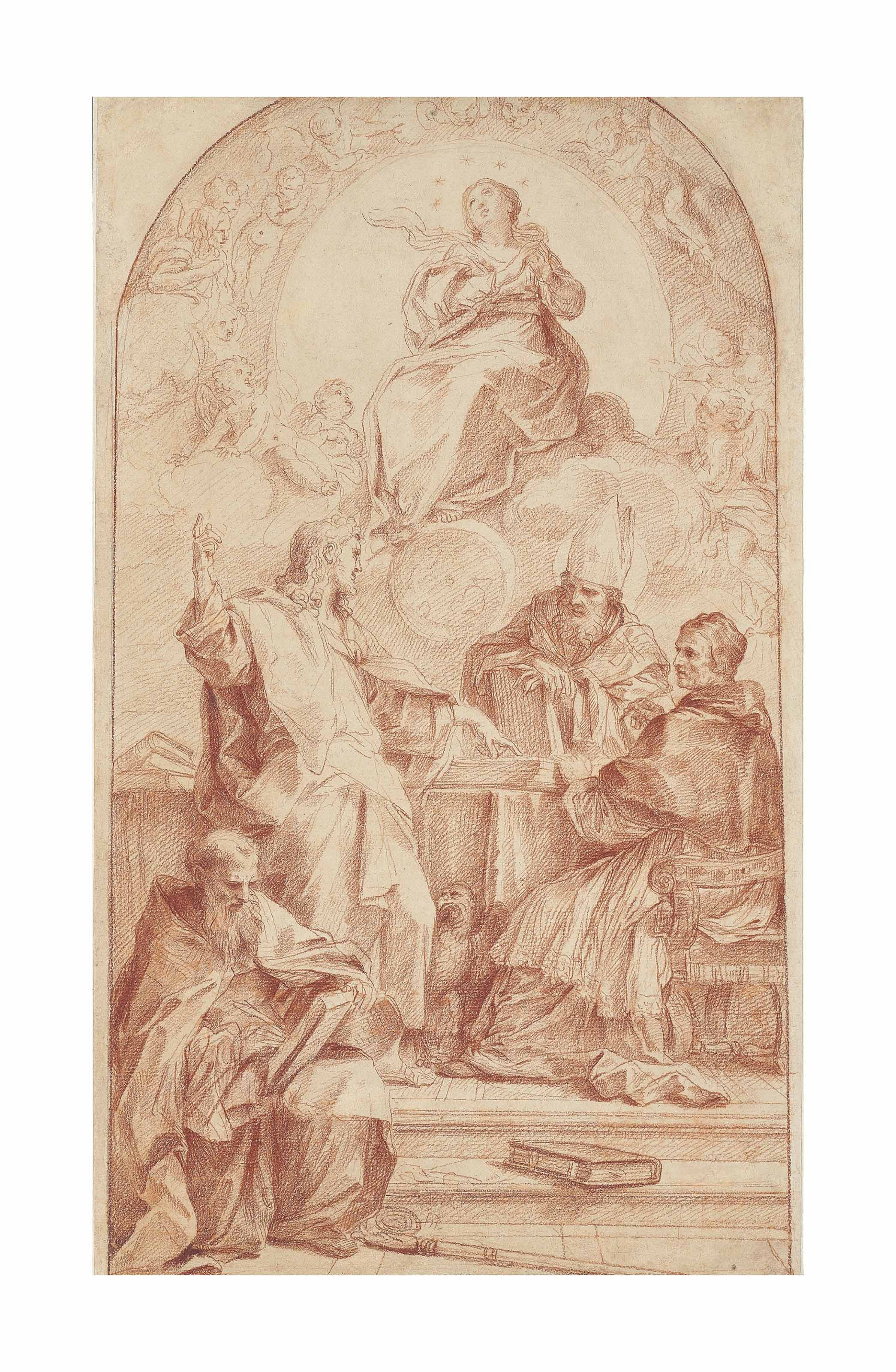 Saint John the Evangelist disputing the Doctrine of the Immaculate Conception with Saints Gregory, Augustine and John Chrysostom