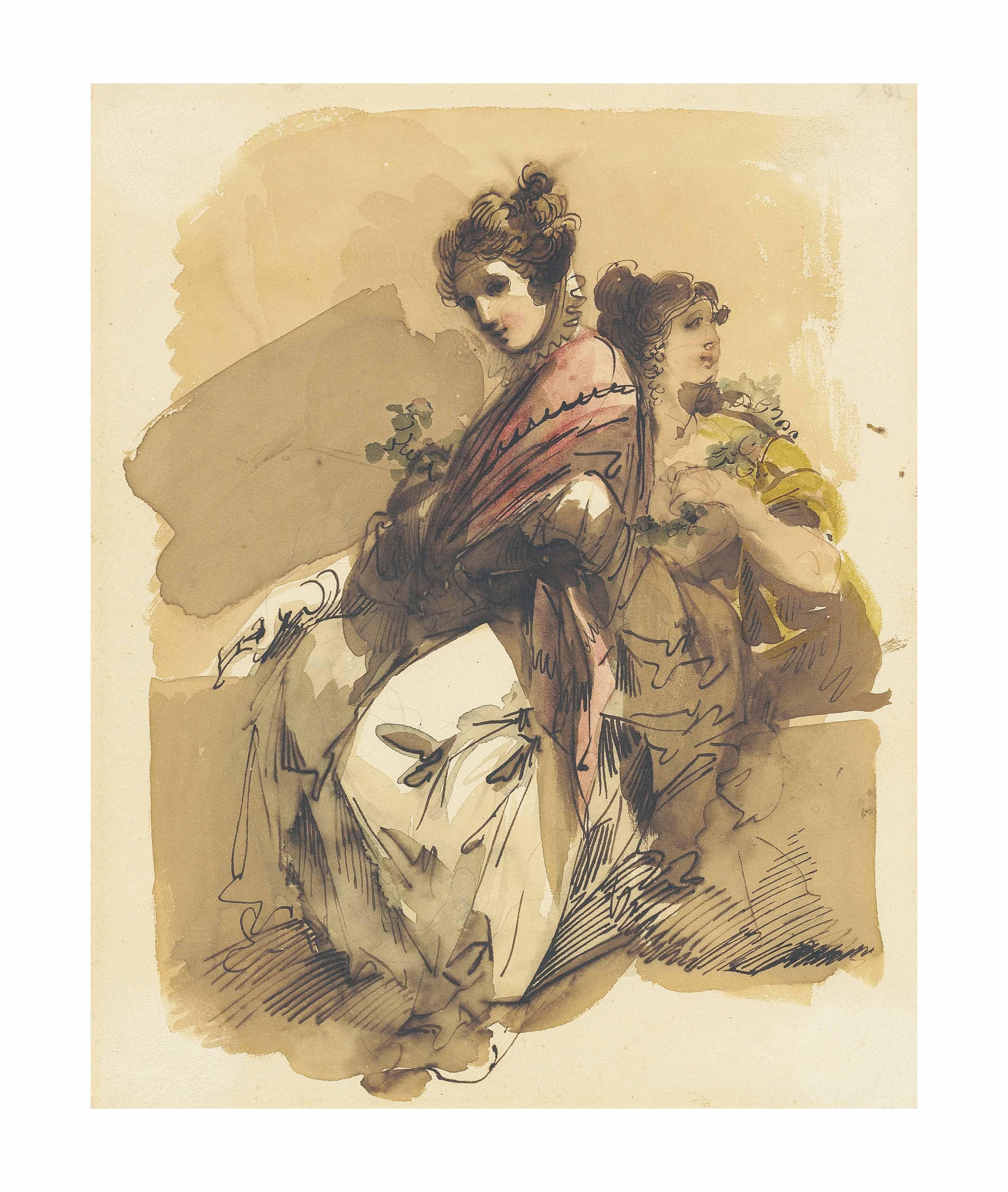Two elegantly dressed ladies holding flowers