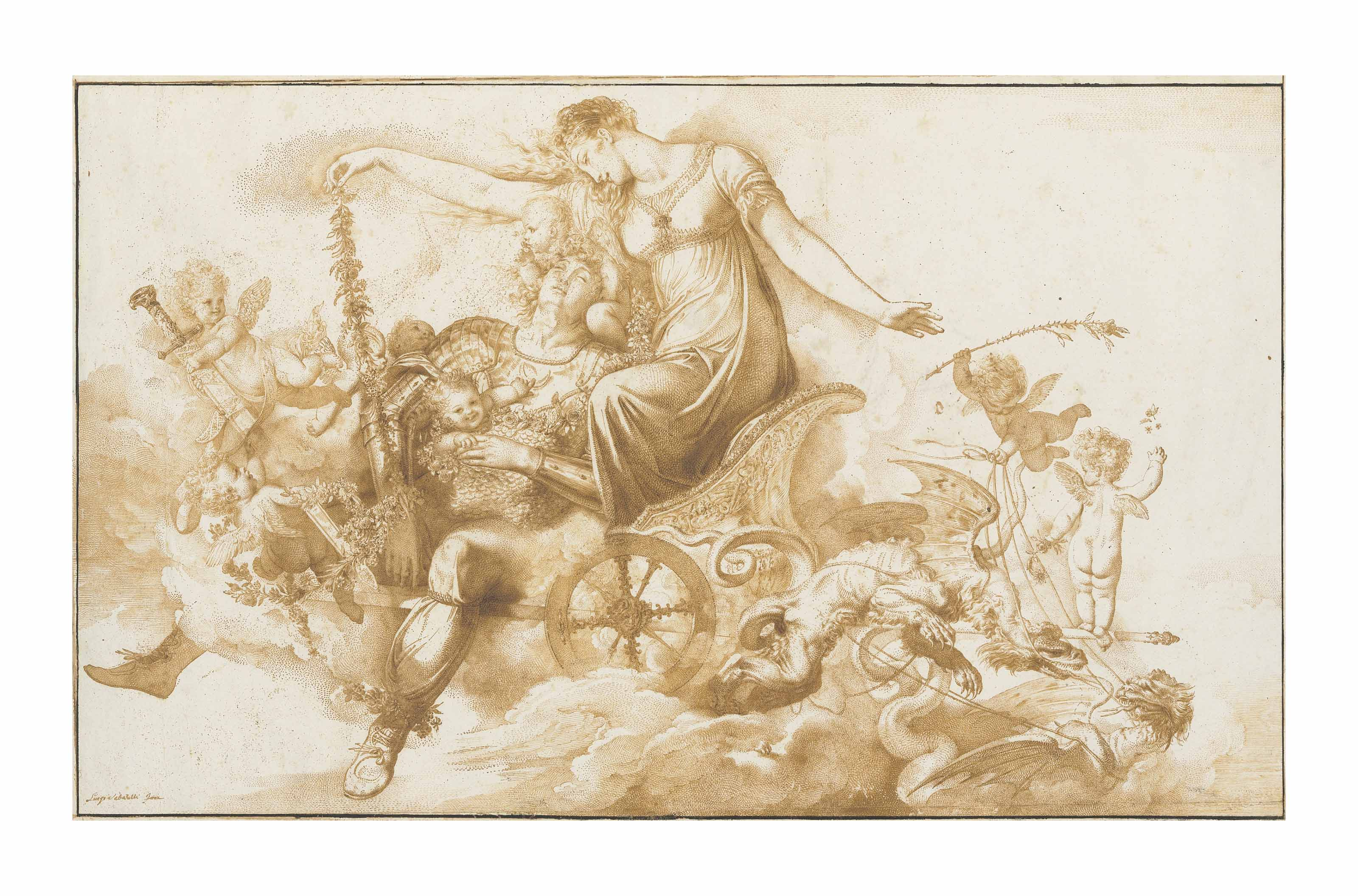 Armida and the sleeping Rinaldo on a chariot drawn by dragons and escorted by putti