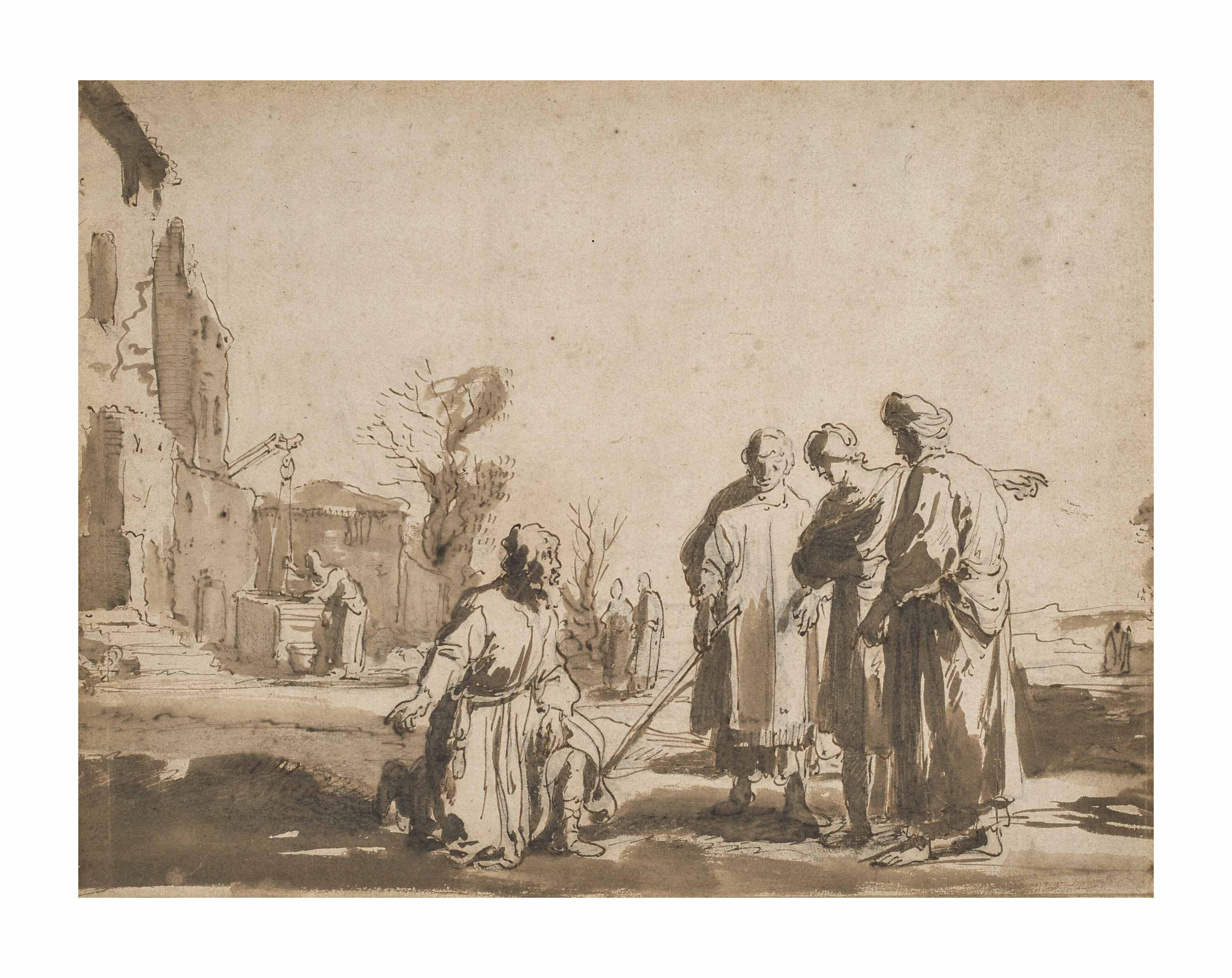 Abraham kneeling before the three Angels