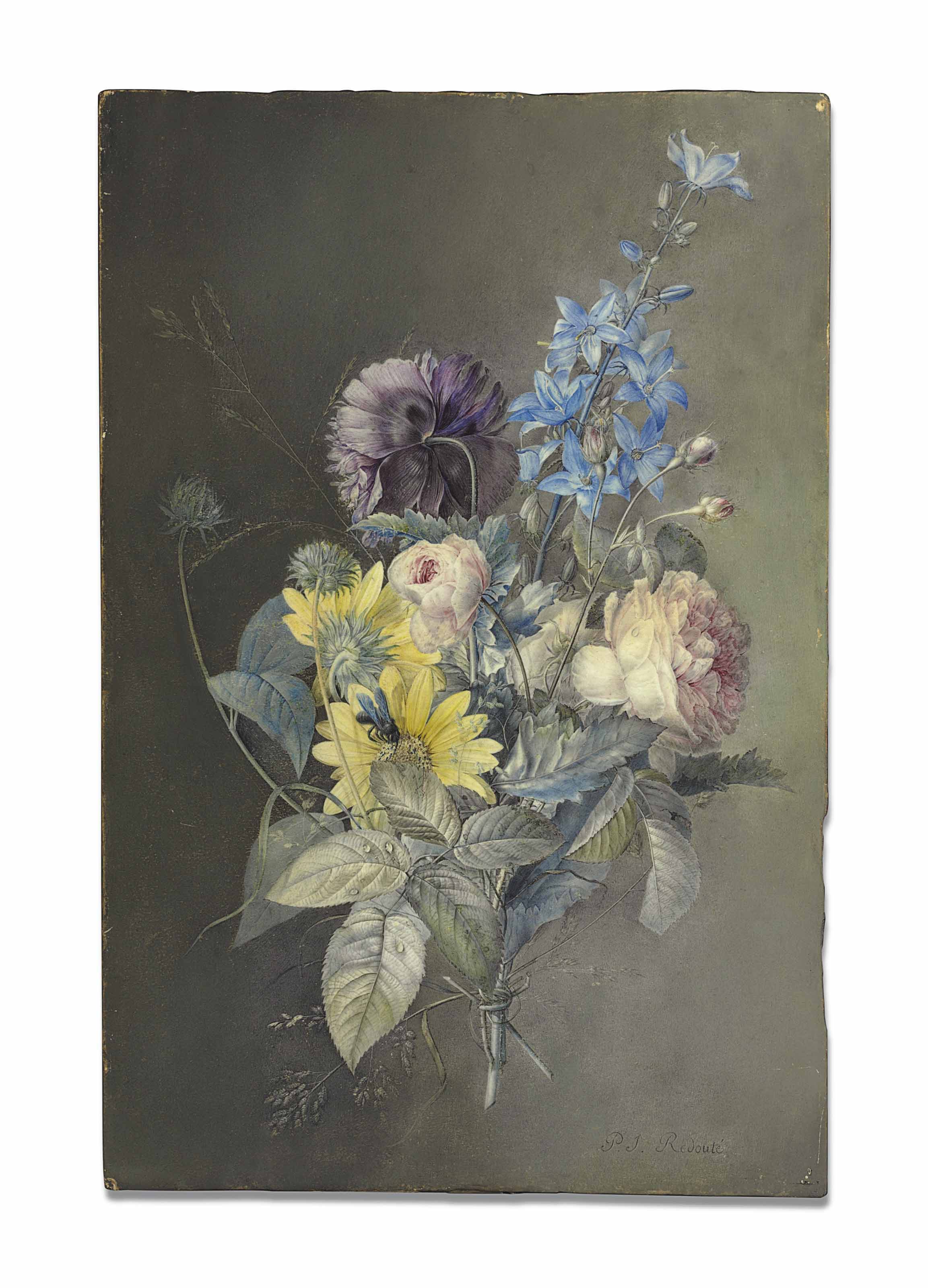 A bouquet of flowers including a Gallica Rose (Rosa gallica), a Delphinium and an Oriental Poppy (Papaver orientale) (?)