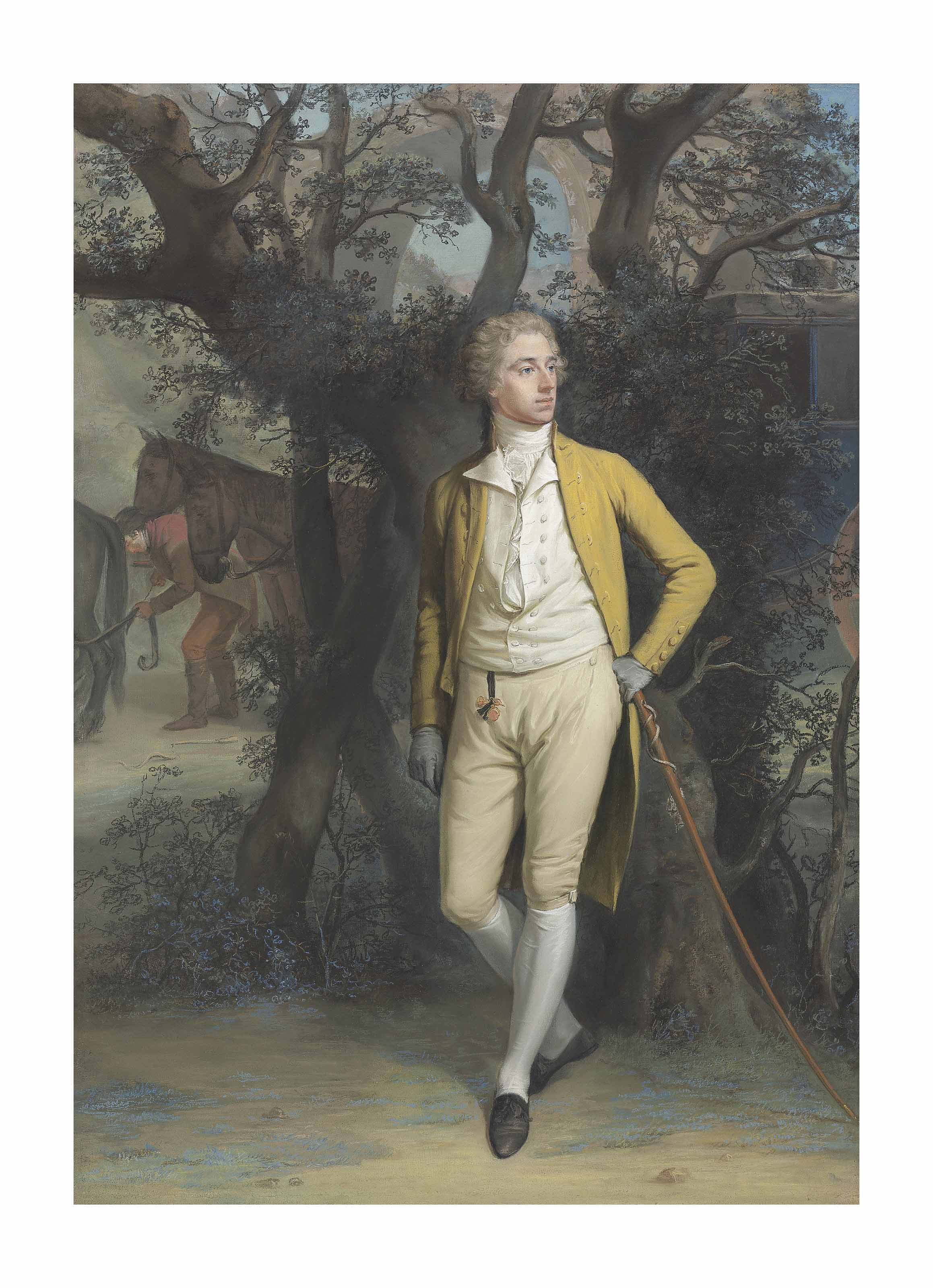 Portrait of a gentleman, traditionally identified as Arthur Hill, 2nd Marquess of Downshire (1753-1801), small full-length, in a yellow frock coat and breeches, his left arm resting on his cane, a coach and four beyond, in a classical landscape