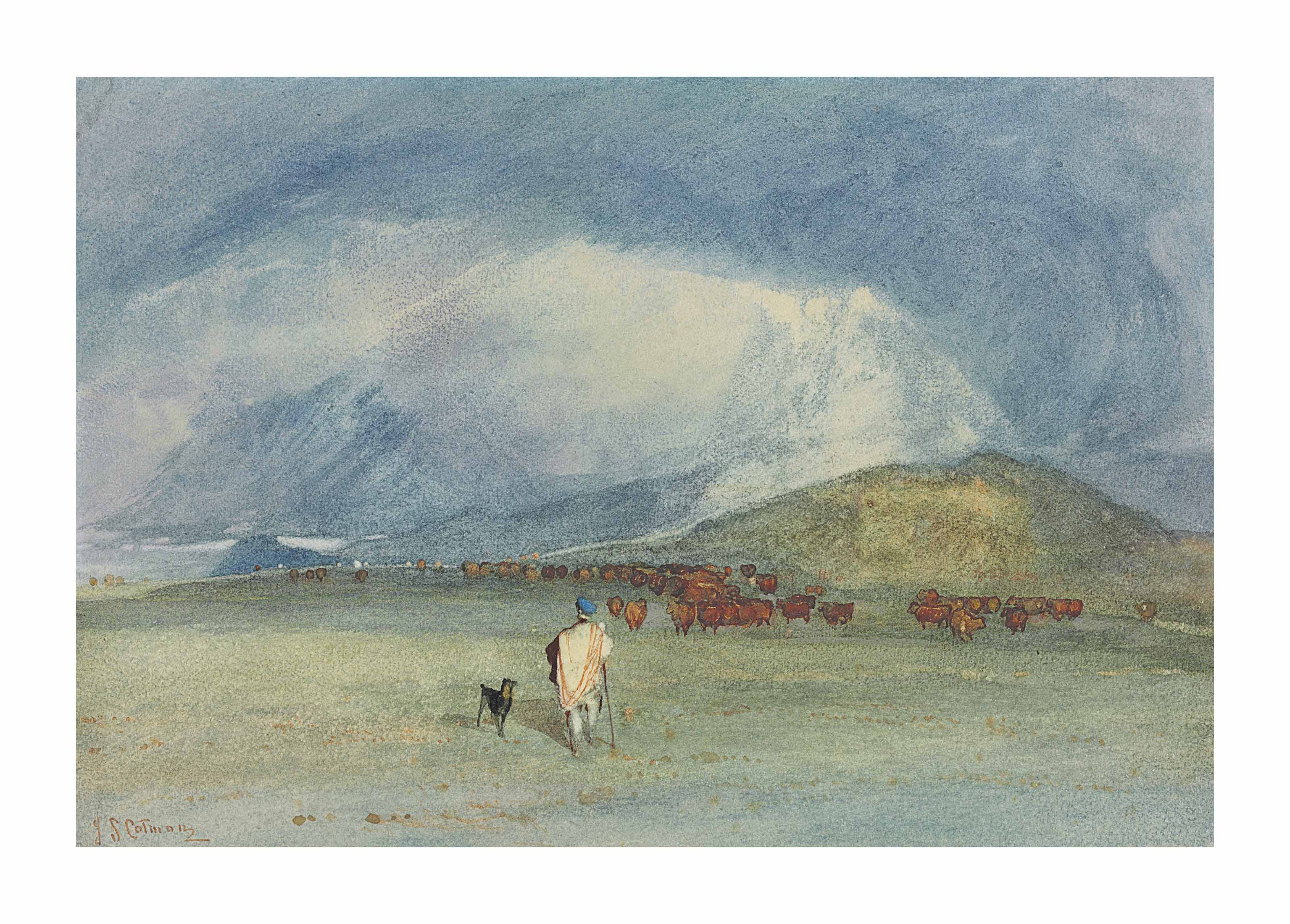 In the Grampians, a drover with his dog and cattle beyond