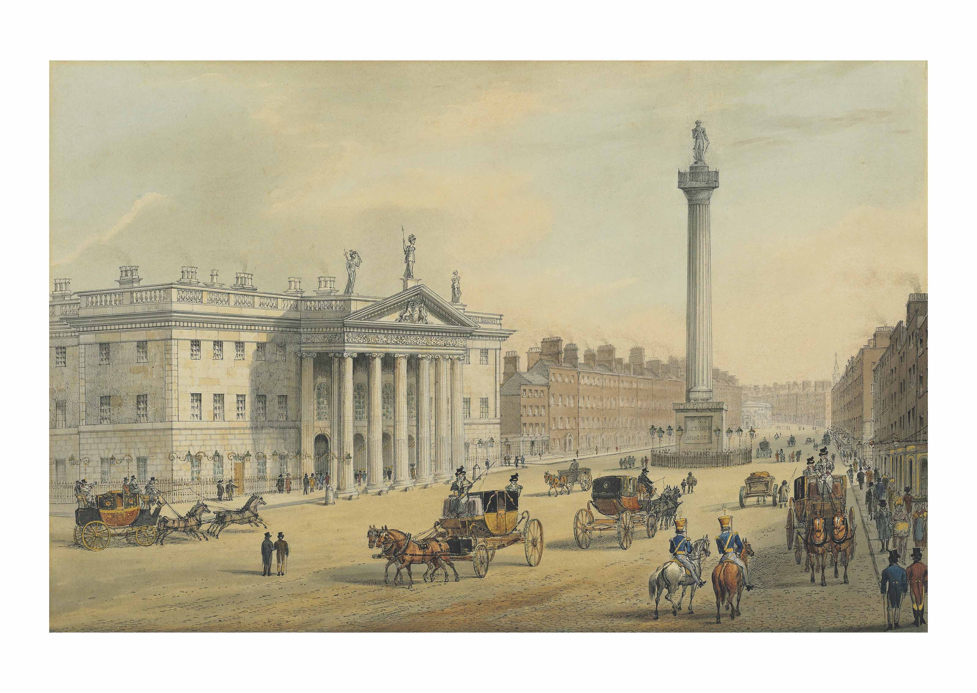 The General Post Office and Nelson's Pillar, Sackville Street, with the Dublin Lying-in Hospital beyond