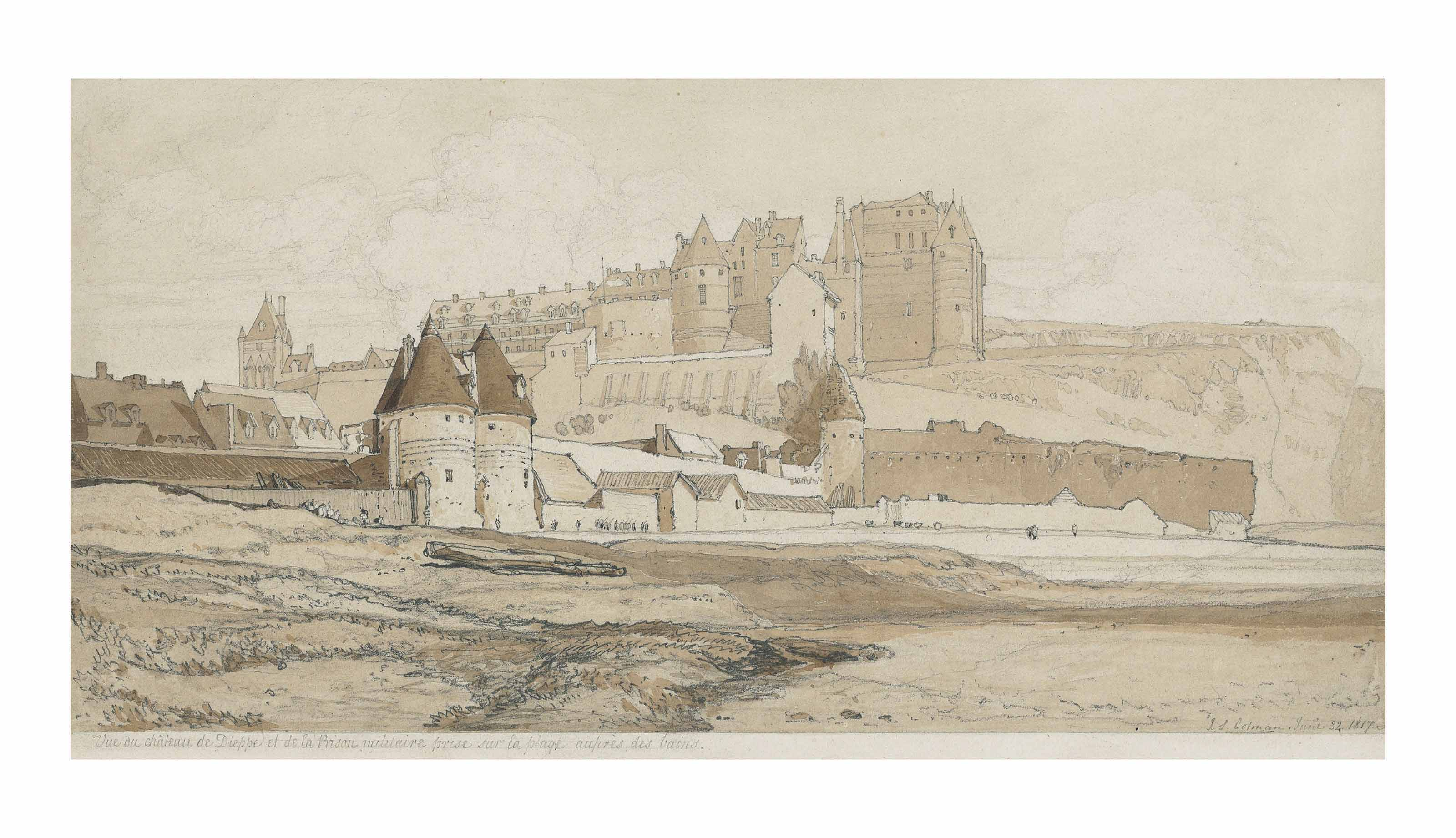 The Château of Dieppe and the Prison, Normandy, seen from the beach