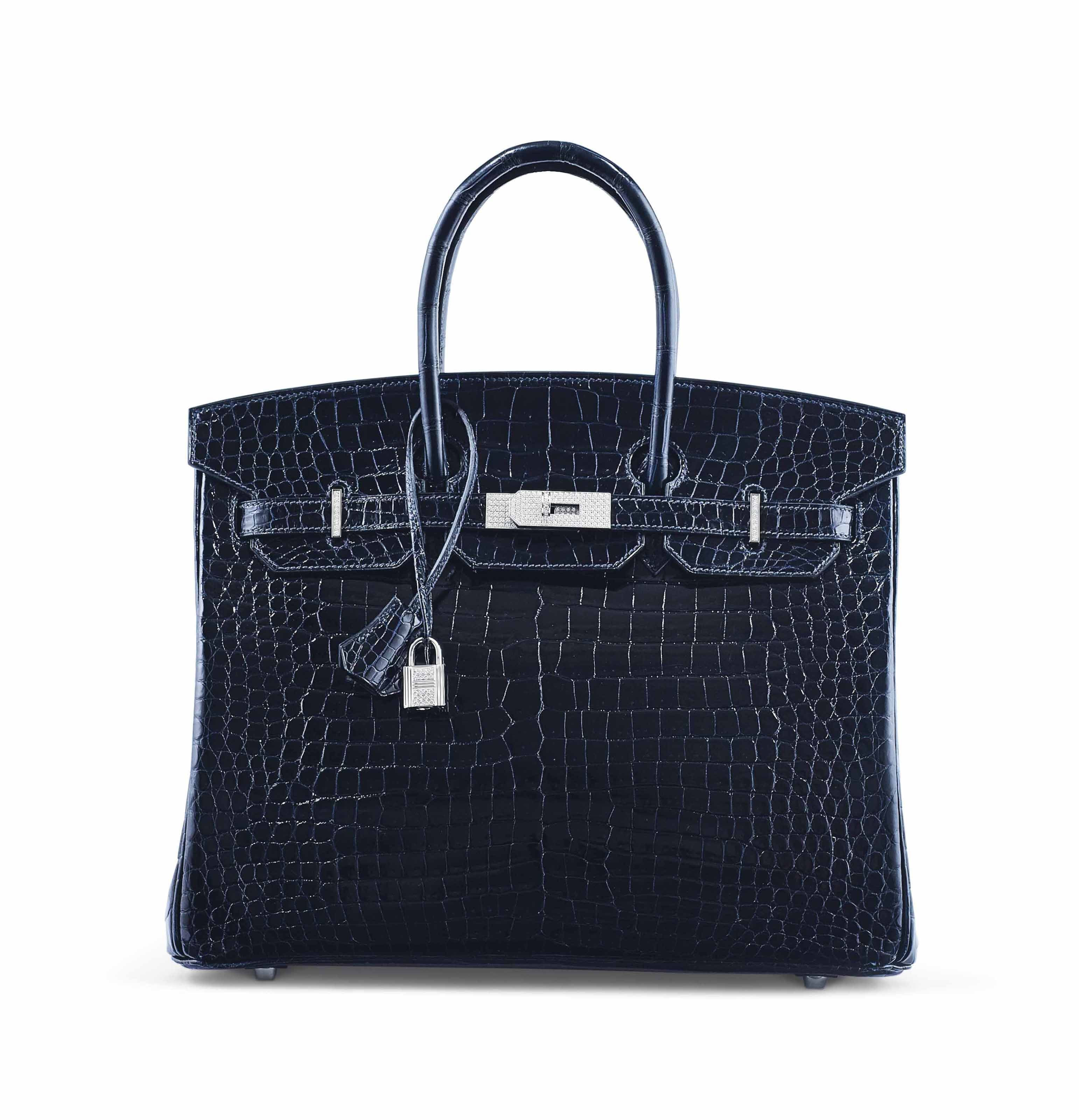 AN EXCEPTIONAL SHINY BLEU MARINE POROSUS CROCODILE DIAMOND BIRKIN 35 WITH 18K WHITE GOLD & DIAMOND HARDWARE