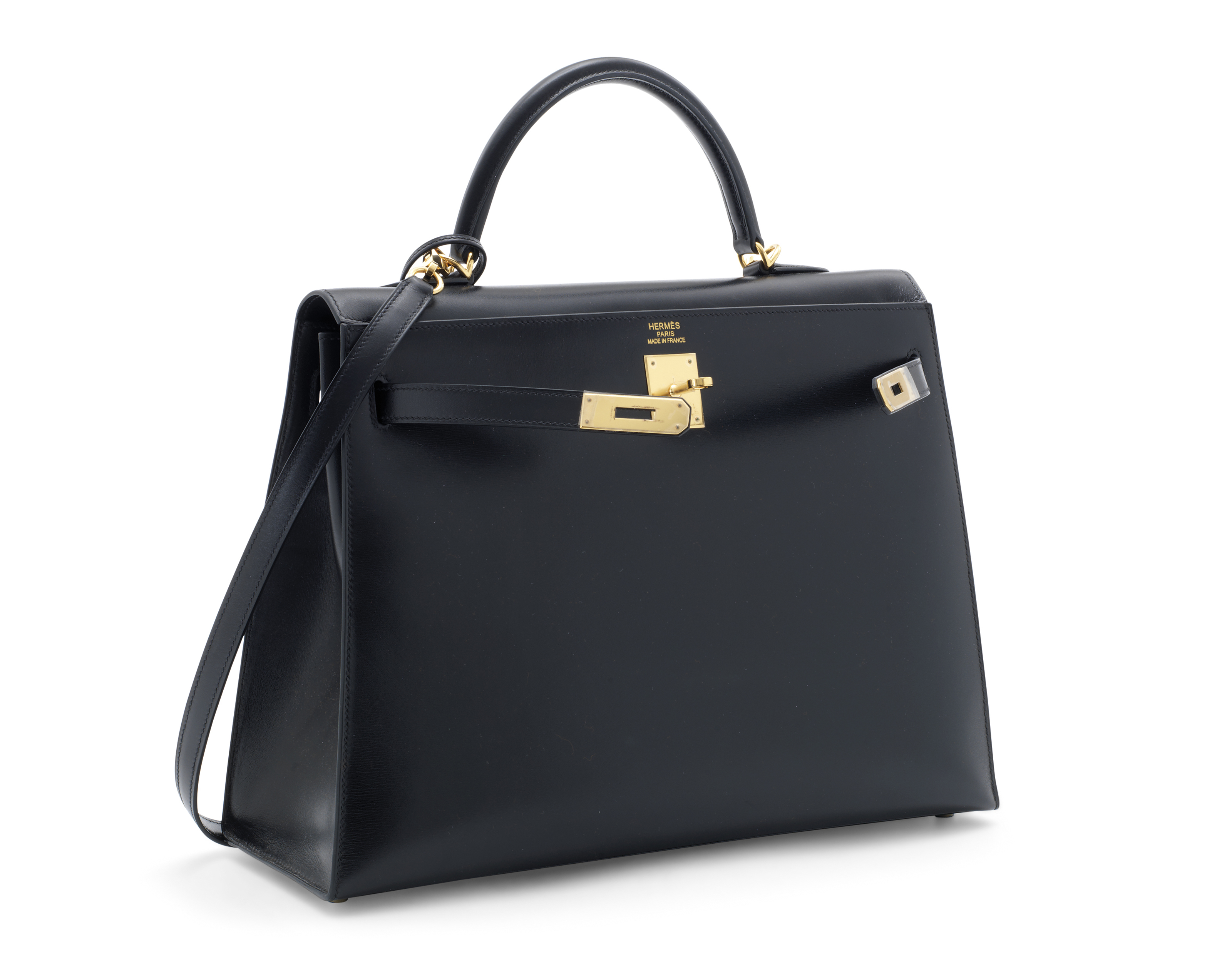 A BLACK CALF BOX LEATHER SELLIER KELLY 35 WITH GOLD HARDWARE