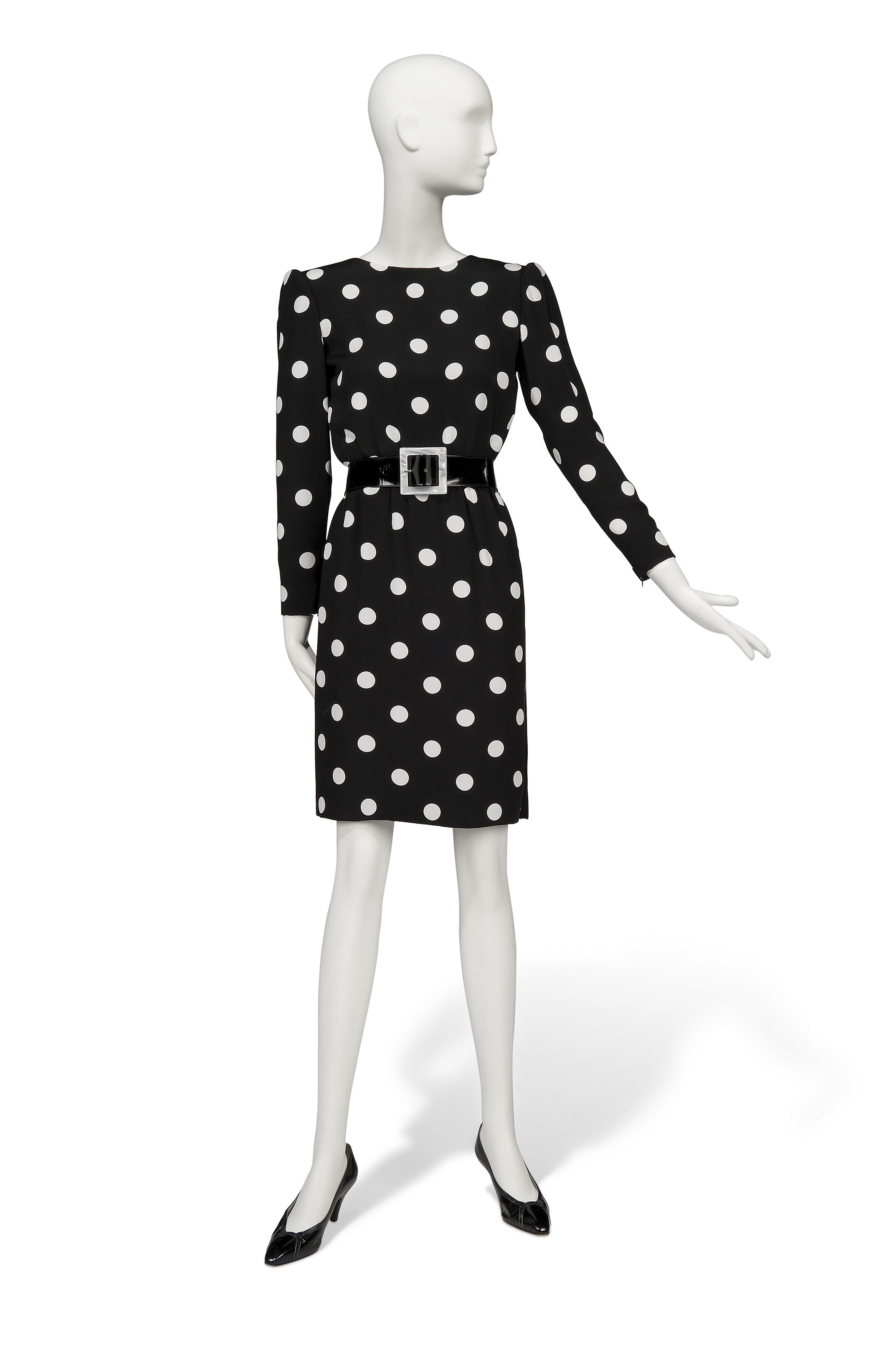 A BLACK AND WHITE POLKADOT SILK CREPE COCKTAIL DRESS