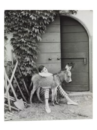 Audrey Hepburn with Bimba the Donkey at the Villa Rolli, Cecchina, 23 June, 1955