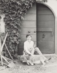 Audrey Hepburn with Bimba the Donkey at the Villa Rolli, Cecchina, 23 June, 1955