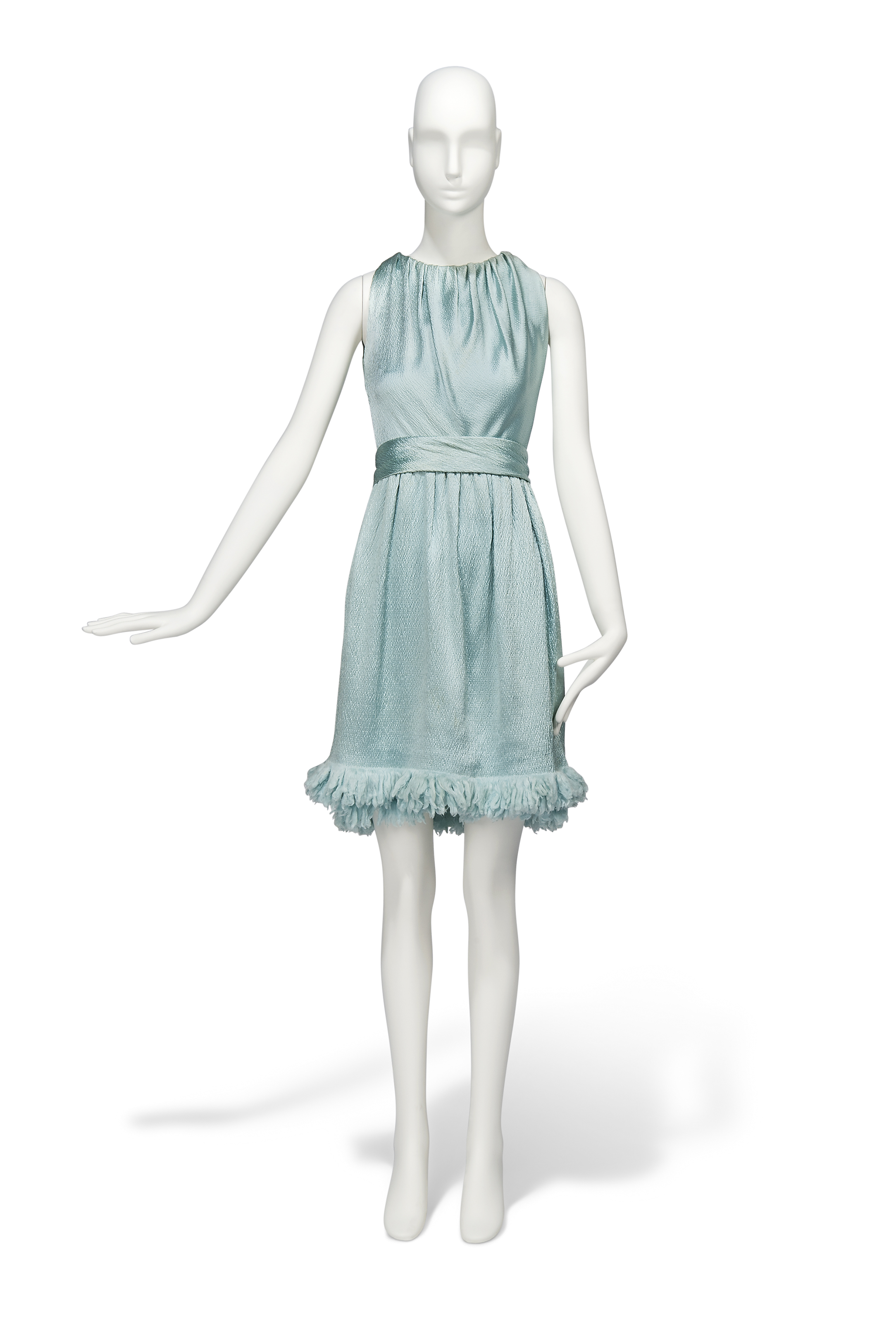 TWO FOR THE ROAD, 1967 A PALE BLUE CLOQUE SATIN COCKTAIL GOWN