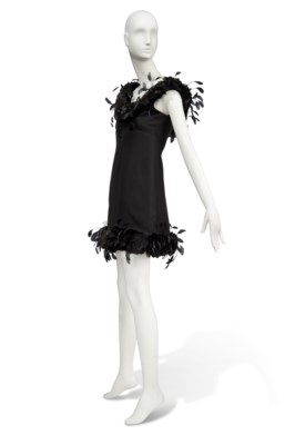 A BLACK SATIN COCKTAIL GOWN