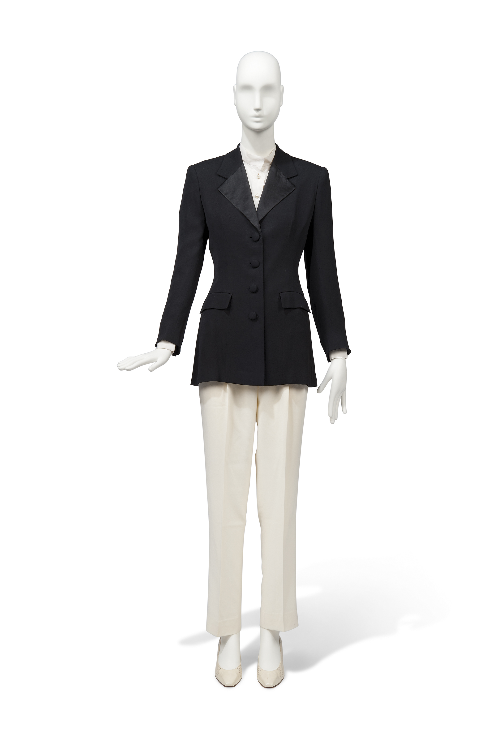 A BLACK SILK CREPE TUXEDO AND ASSOCIATED IVORY WOOL CREPE TROUSERS