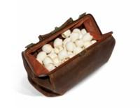 Sac en cuir avec oeufs (Leather bag with eggs)