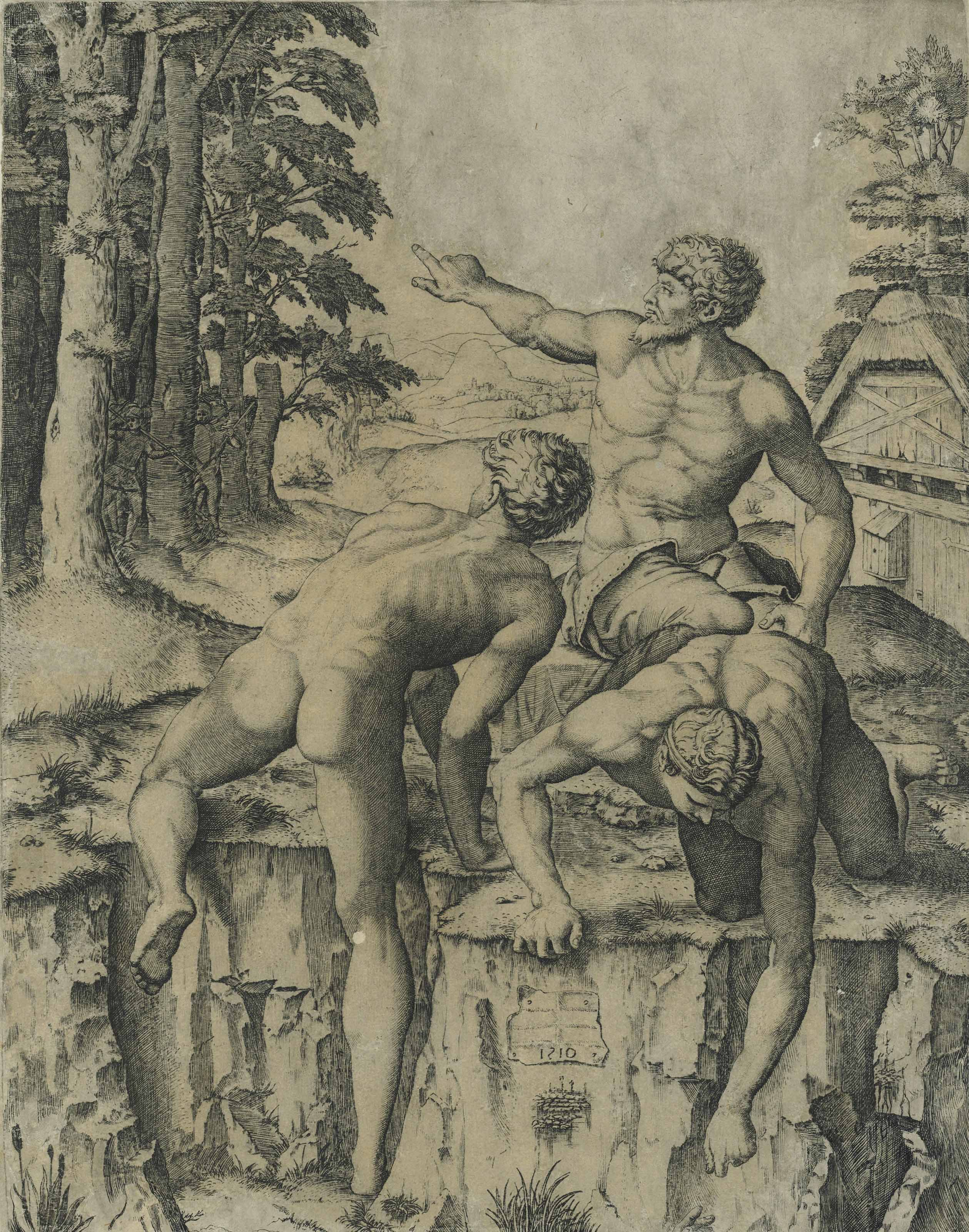 Marcantonio Raimondi (1480-1534) after Michelangelo Buonarotti (1475-1564) and Lucas van Leyden (1494-1533), The Climbers, 1510. Engraving on laid paper. Sheet 284 x 224 mm. Sold for £4,750 on 14 December 2017 at Christie's in London