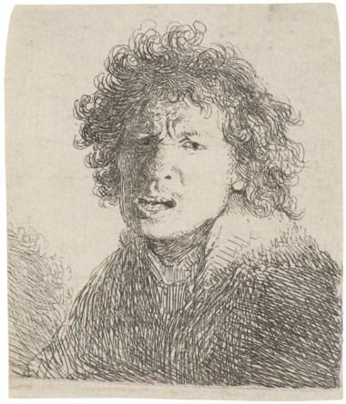 伦勃朗·哈尔曼松·范·莱茵 (1606-1669),《如呼喊般张嘴的半身自画像》。蚀刻版画,1630年作,直纹纸,无水印。纸张:66 x 56公分。2017年12月14日于佳士得伦敦以5,625英镑成交