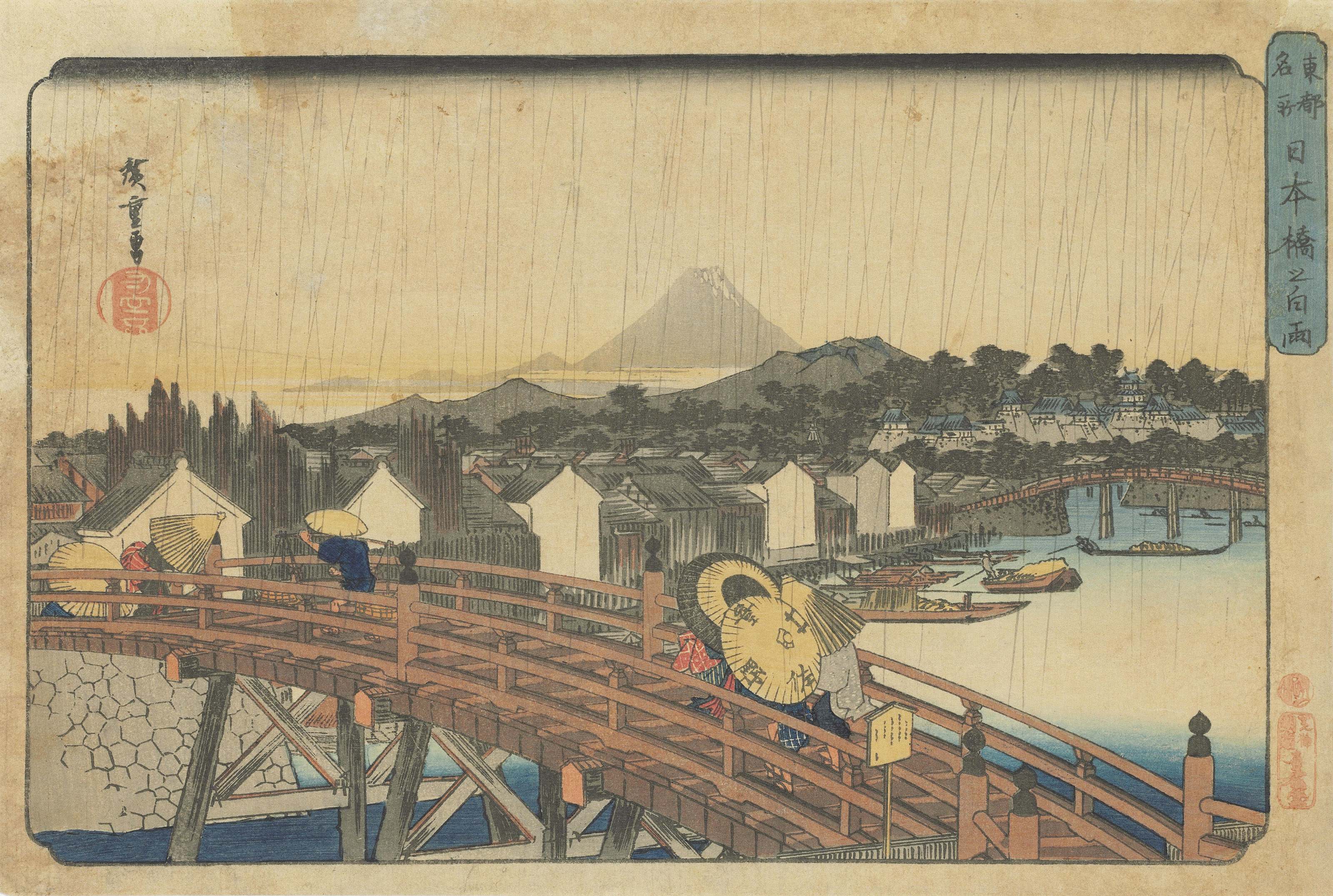 utagawa hiroshige  1797 u20131858   shower on nihonbashi bridge