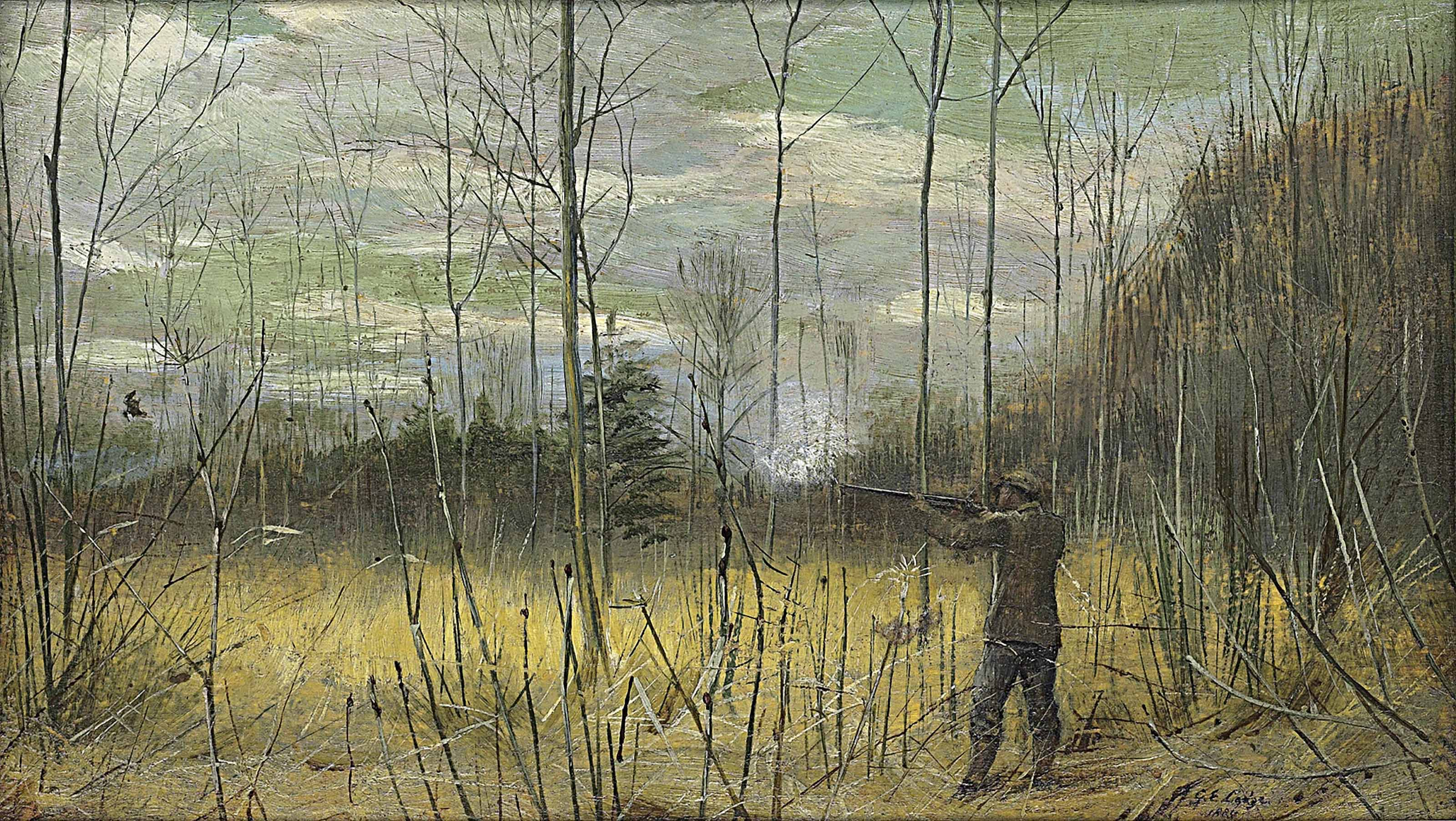 A sportsman shooting woodcock