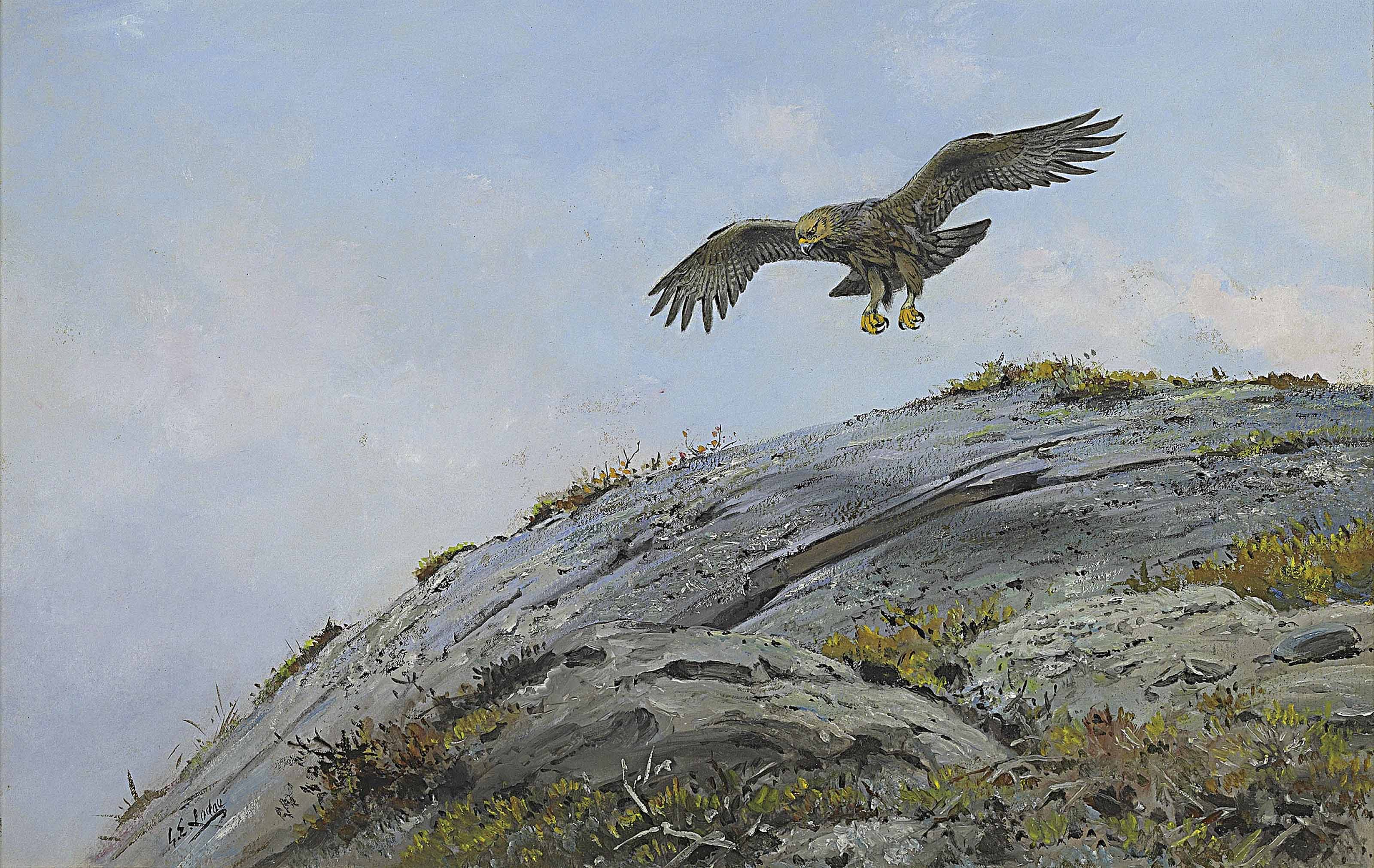 A golden eagle hovering over the summit of a crag