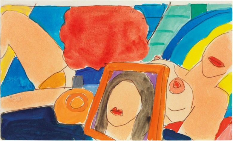 Tom Wesselmann (1931-2004), Study for a Nude with Bottle and Frame, executed in 1976. 3 x 4⅞in (7.6 x 12.5cm). Estimate                    £12,000-18,000. This lot is offered in on paper  online, 7-19 September 2017, Online