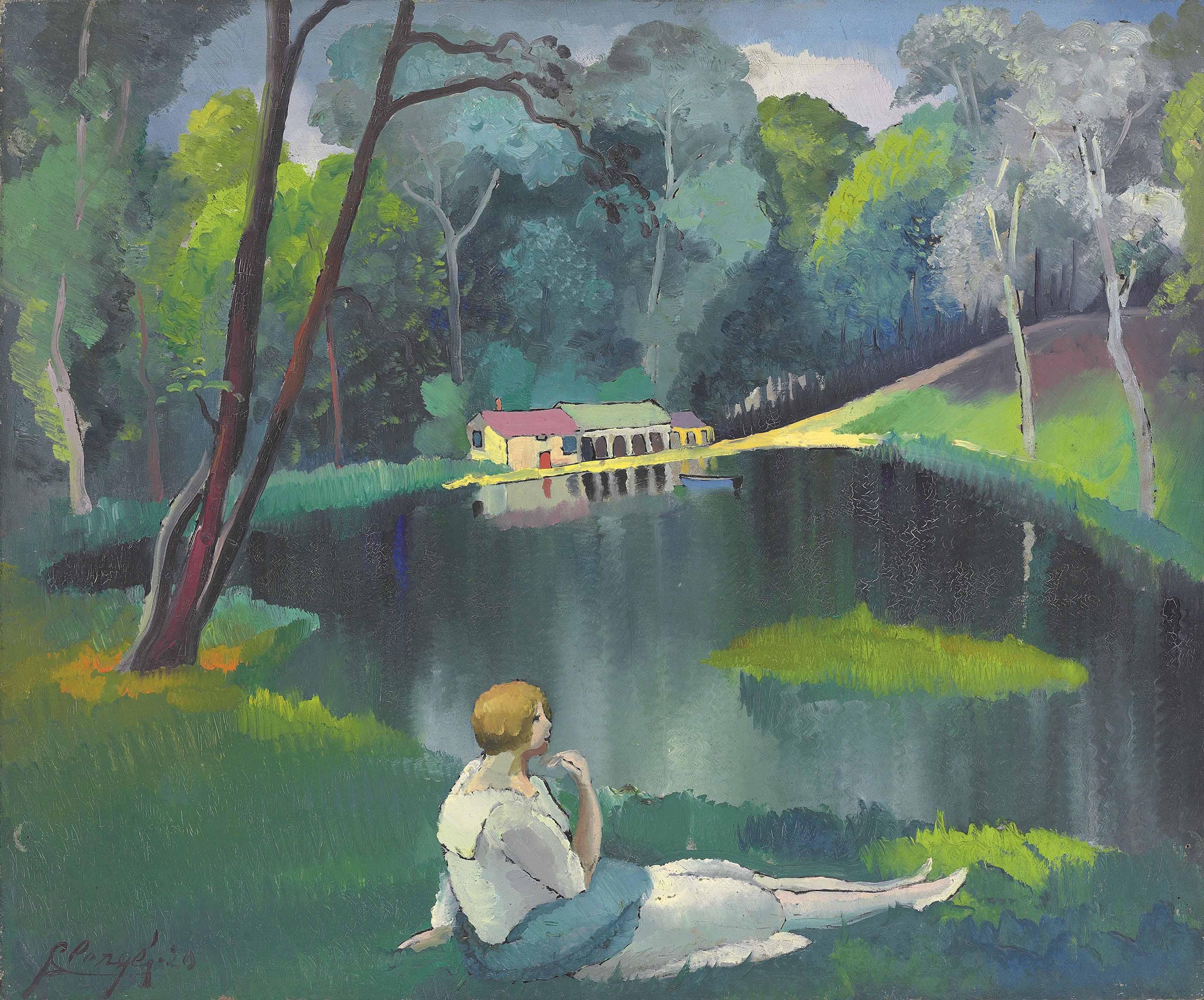 Femme devant le lac