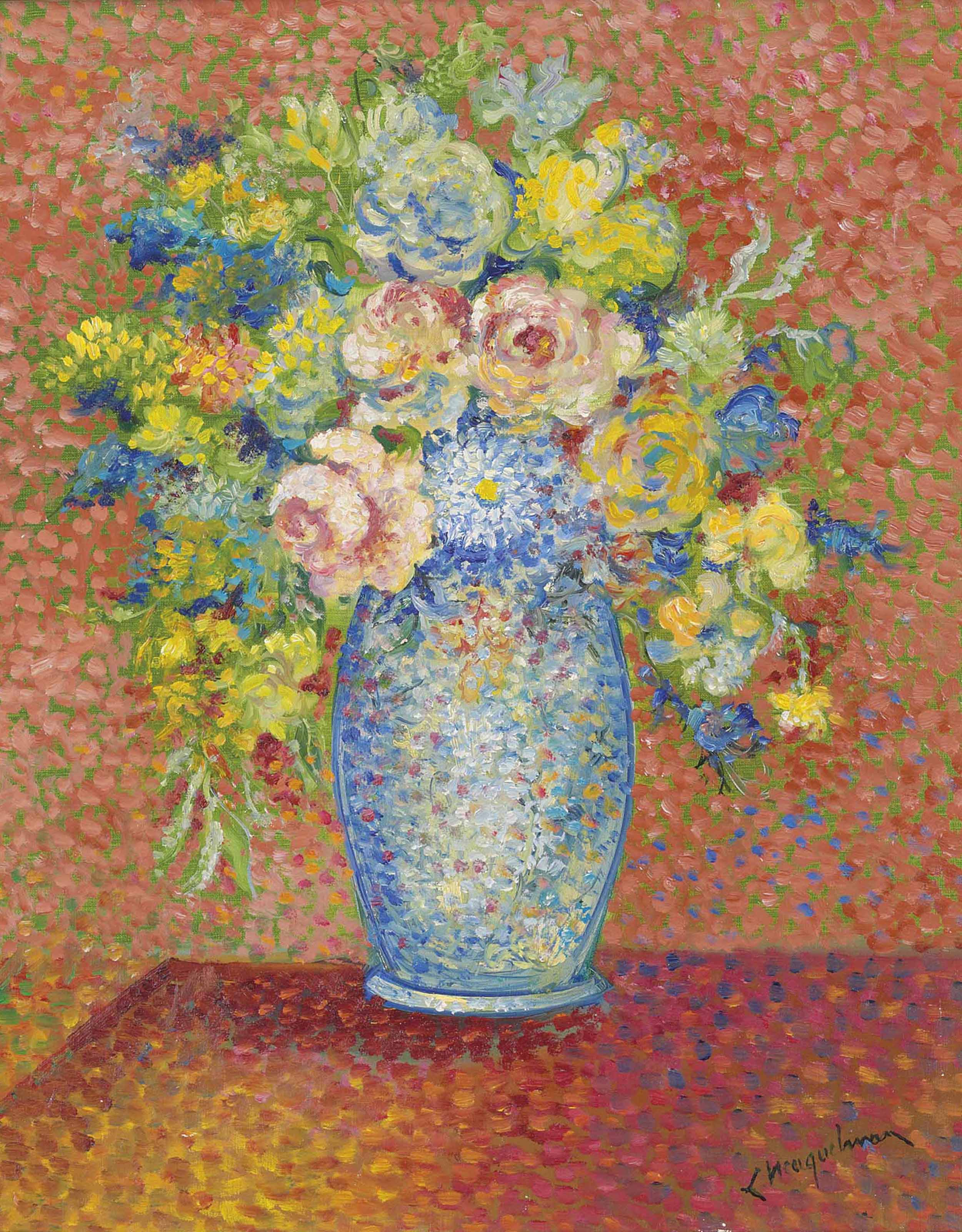 Roses and other flowers in a vase