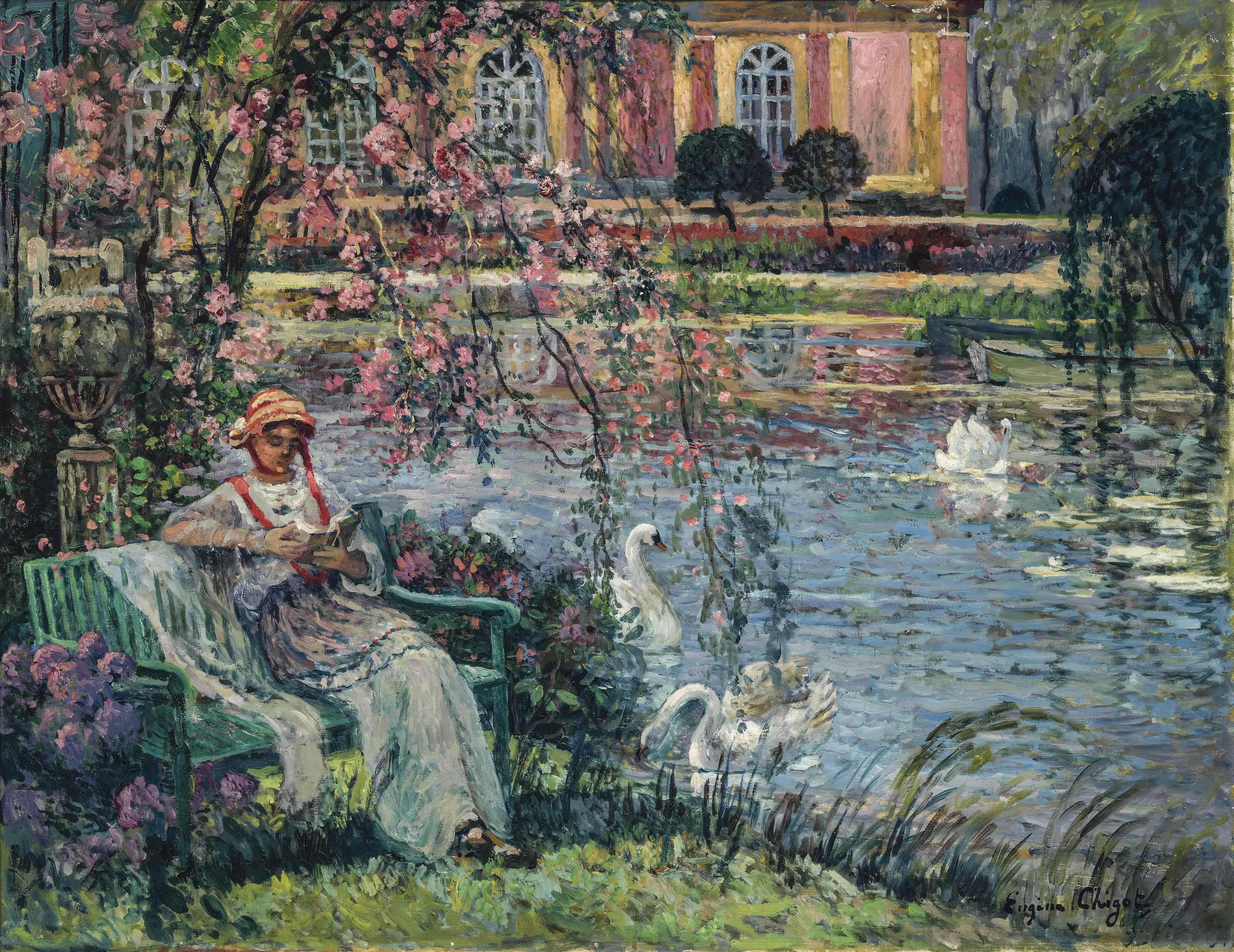 Jeune femme au bord de l'étang