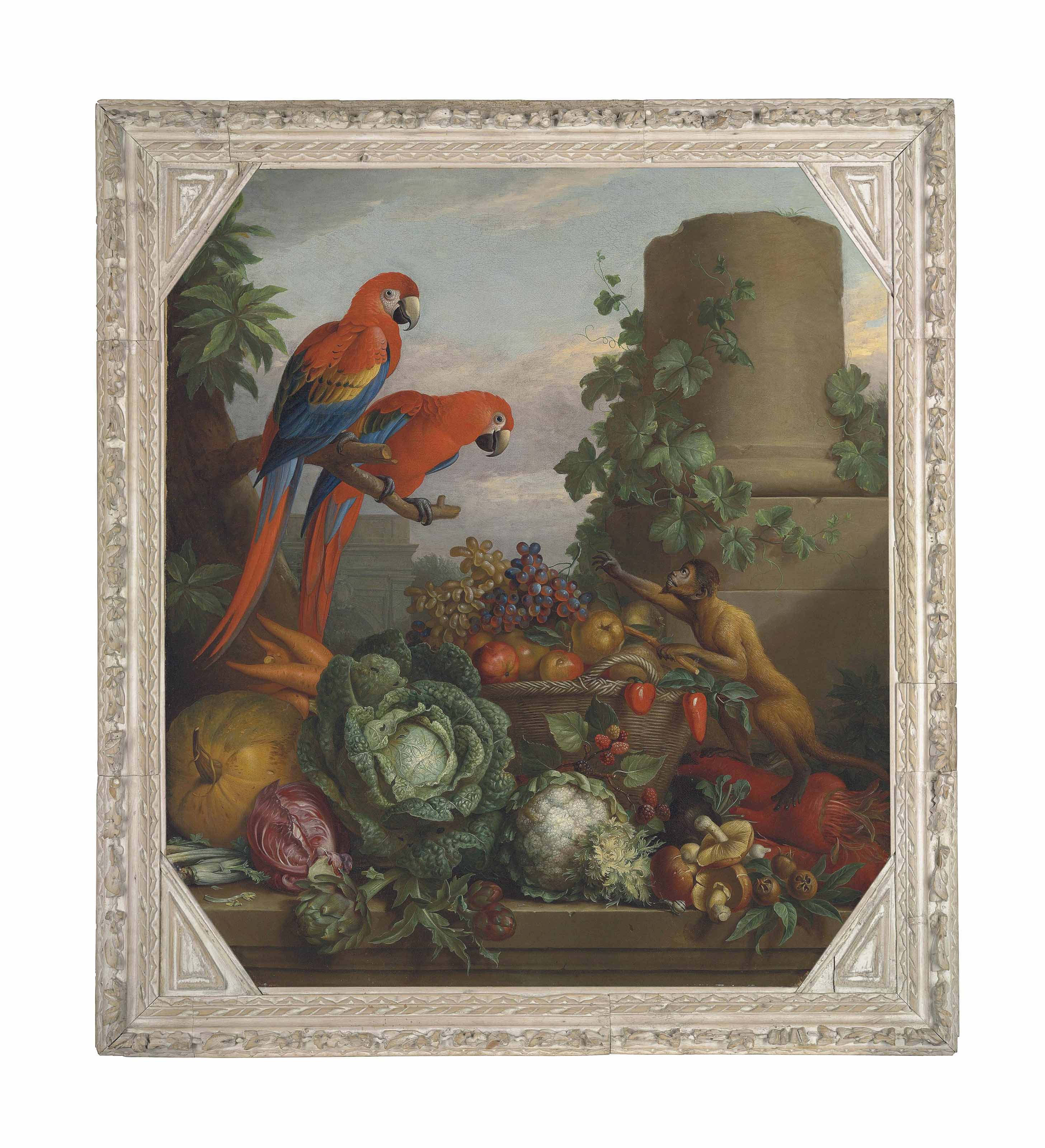 Two scarlet macaws perched on a tree branch by a monkey and a basket of fruit and vegetables on a ledge, in a classical landscape with ruins