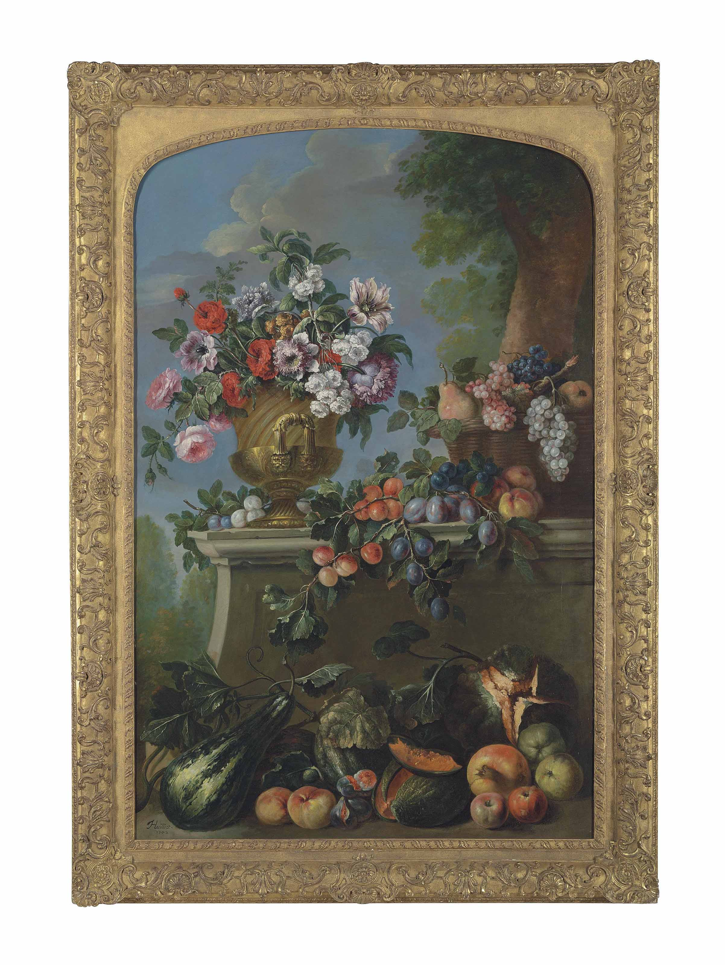 Roses, peonies and other flowers in an urn, grapes and peaches in a basket on a ledge, with further overflowing fruit