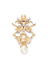 A DIAMOND, ROCK CRYSTAL AND CULTURED PEARL BROOCH, BY GILBERT ALBERT