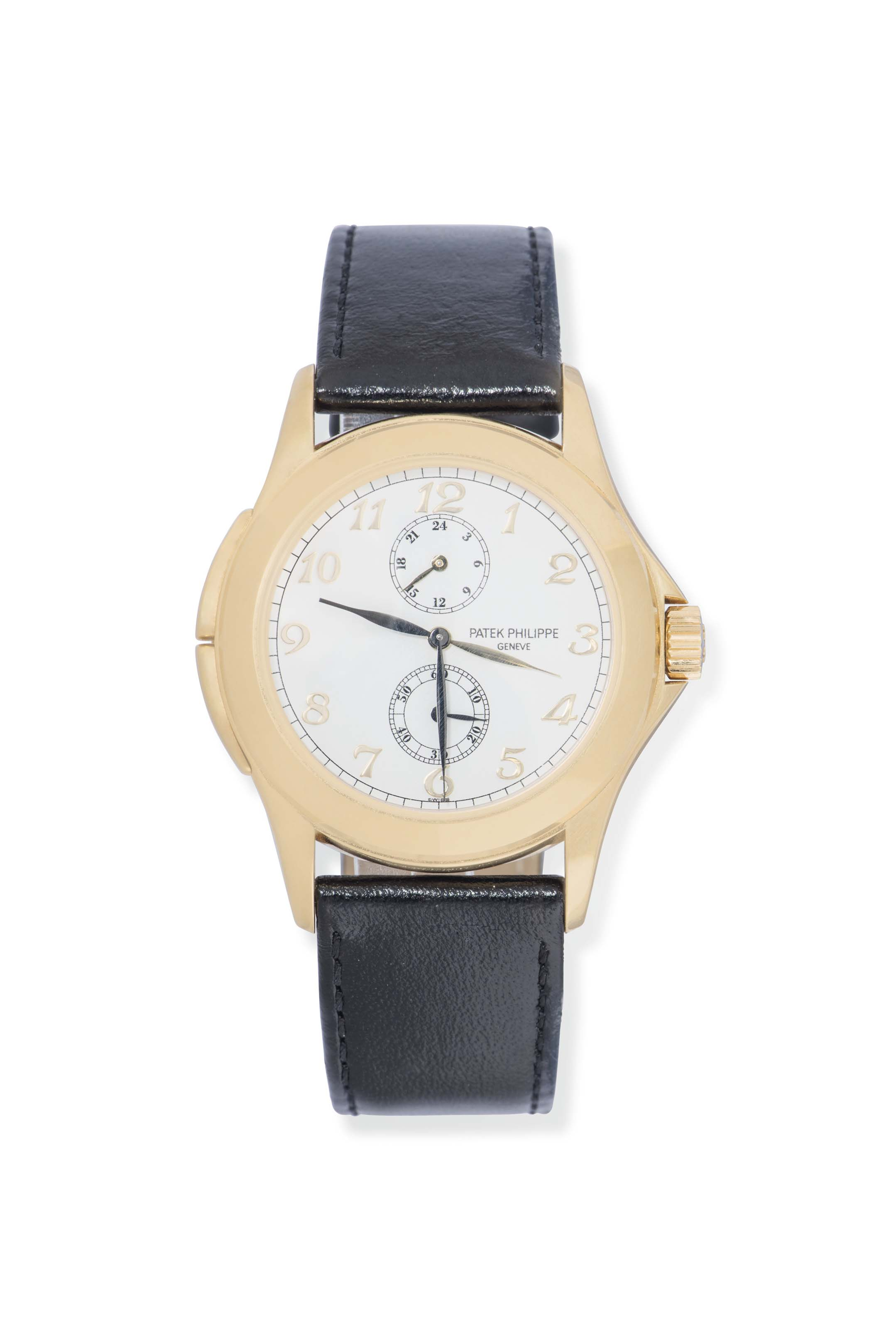 AN 18CT GOLD DUAL TIME WRISTWATCH, BY PATEK PHILIPPE, REF 51...
