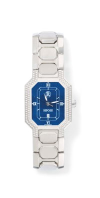 TWO DIAMOND-SET STAINLESS STEEL QUARTZ WRISTWATCHES, BY REPOSSI AND BARTHELAY
