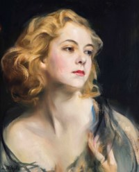 Portrait of Helen Beatrice Myfanwy Hughes, head and shoulders, three-quarter profile to the right, wearing a dark blue chiffon stole around her bare shoulders, her left hand raised