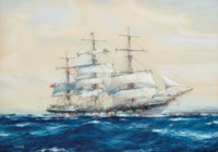 The emigrant ship Invercargill off Fairoa Head, New Zealand