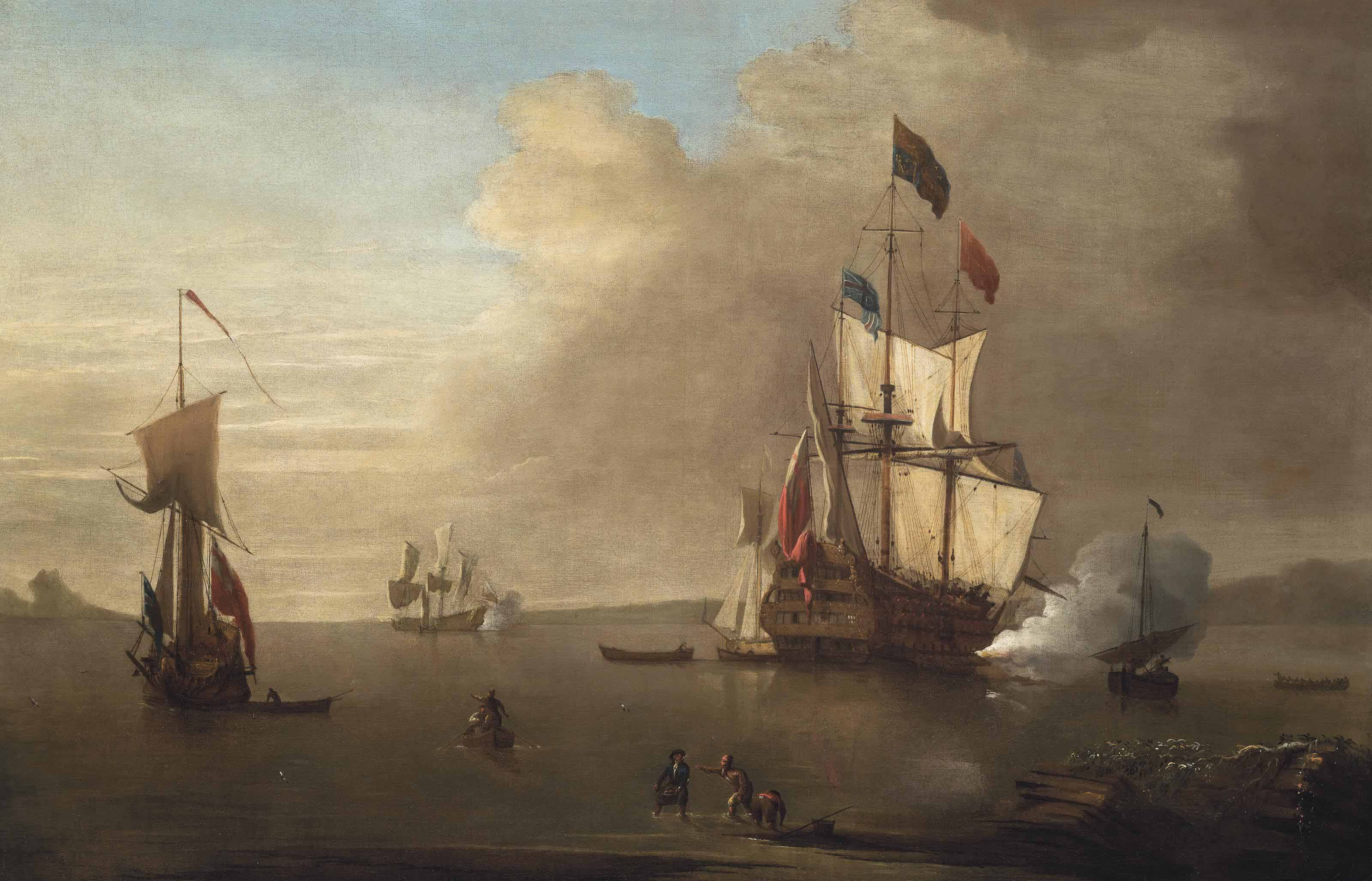 The flagship of a Rear-Admiral of the Red, with an Admiral of the Fleet aboard, firing a salute to acknowledge the longboat approaching her starboard quarter which is probably carrying a distinguished visitor wanting to come aboard